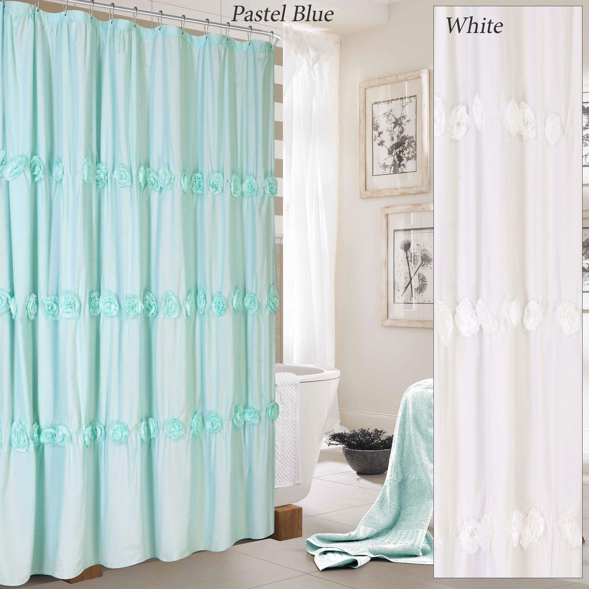 Rosaleen Fabric Flower Rosette Shower Curtain