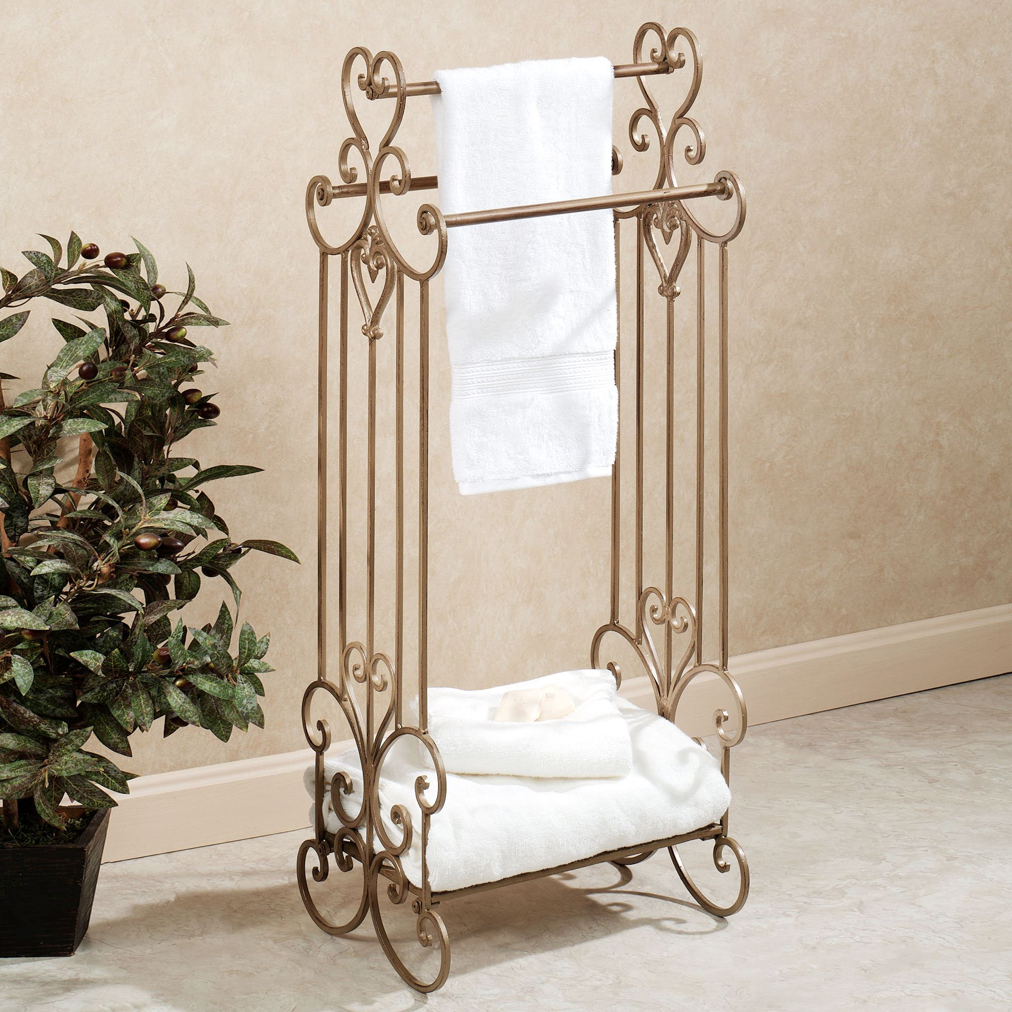 Aldabella Satin Gold Bath Towel Rack Stand