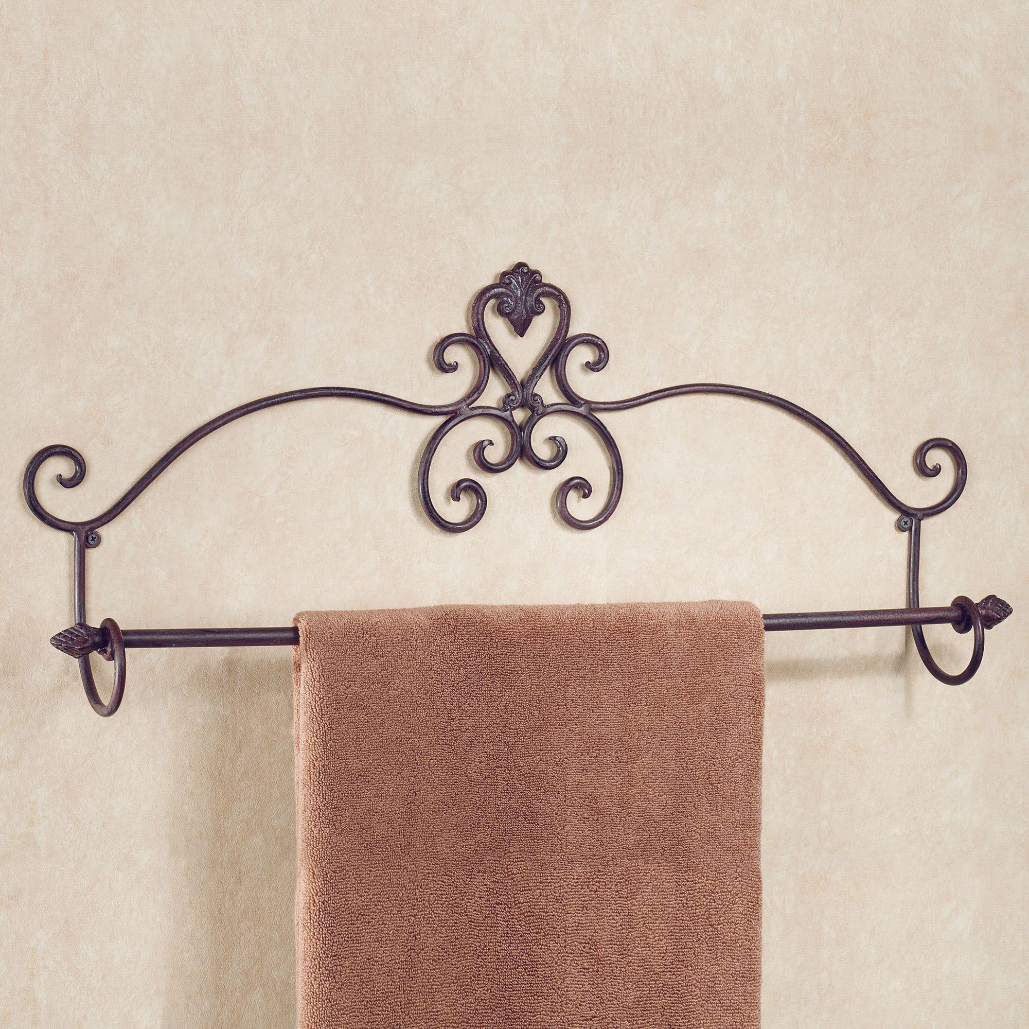 Aldabella scroll tuscan slate wall towel bar for Wrought iron bathroom towel bars
