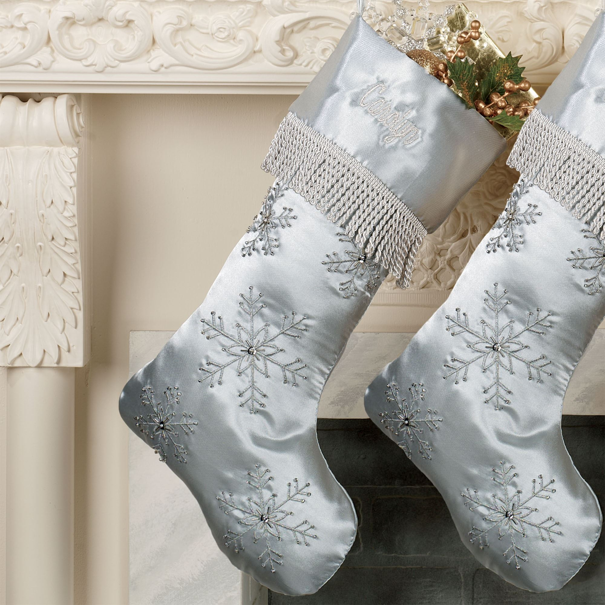 elegant snowflake embroidered christmas stockings elegant snowflake stocking touch to zoom