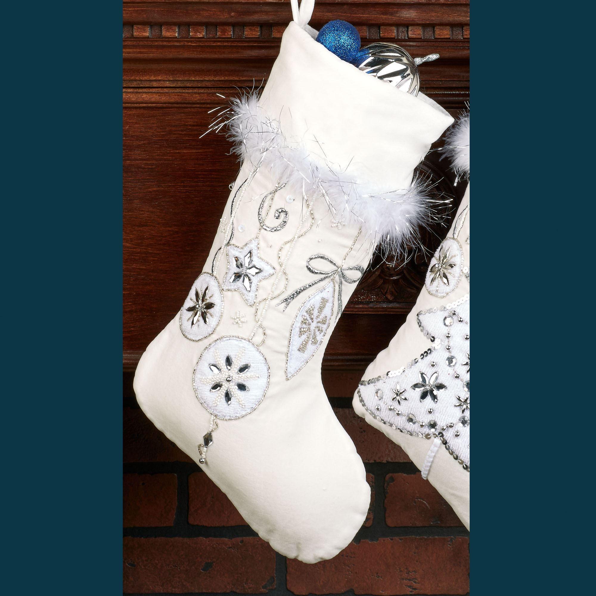 Gleaming Jeweled White Velvet Christmas Stockings