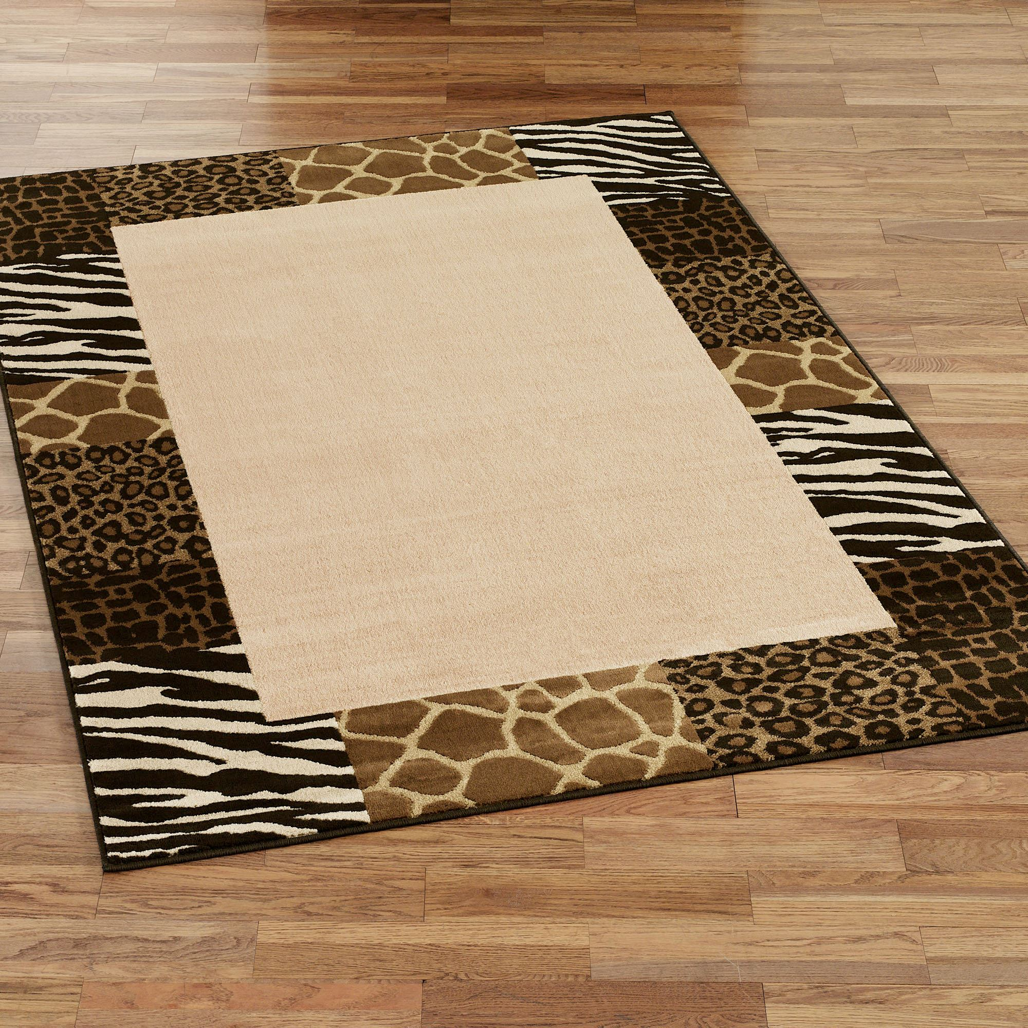 Safari Collage Animal Print Border Area Rugs