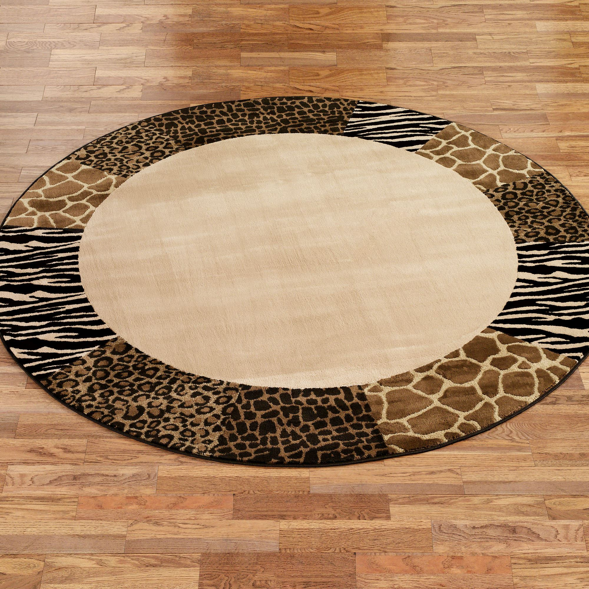 Safari Collage Animal Print Border Round Rug