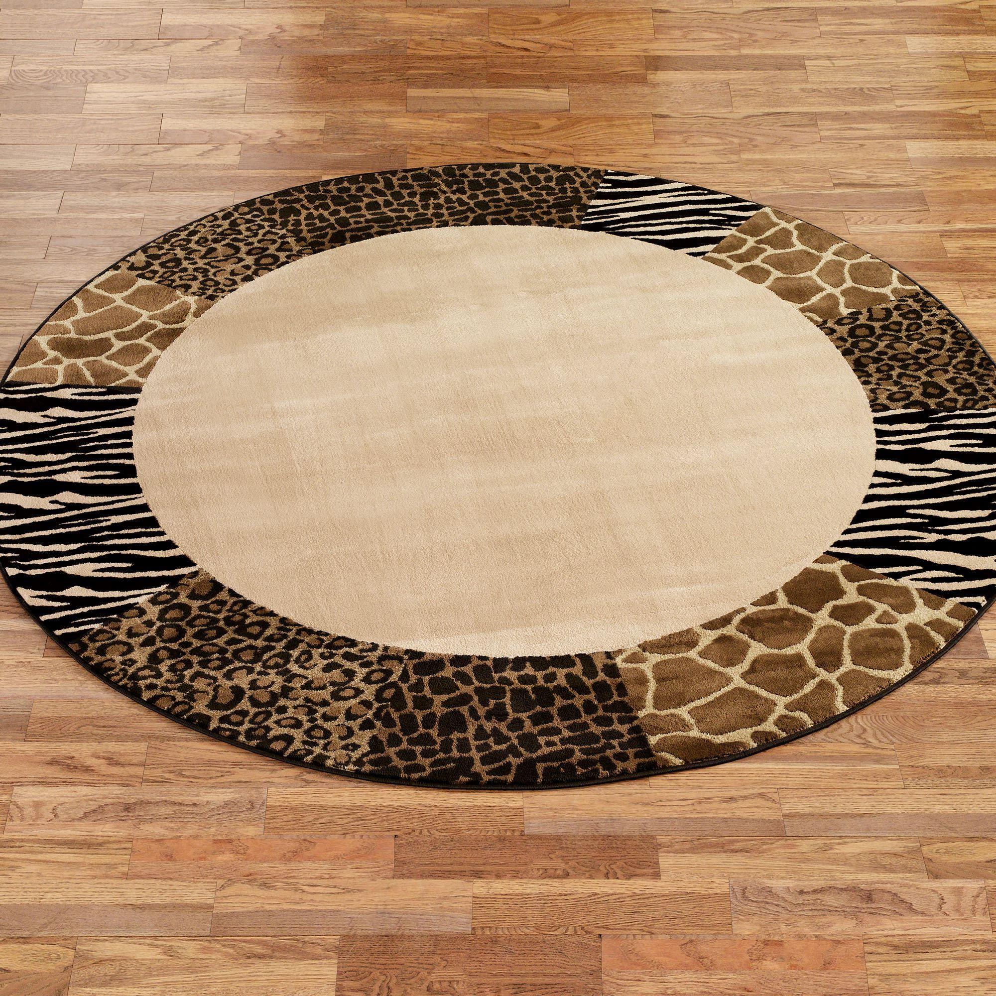 Safari Collage Round Rug Beige Brown 78