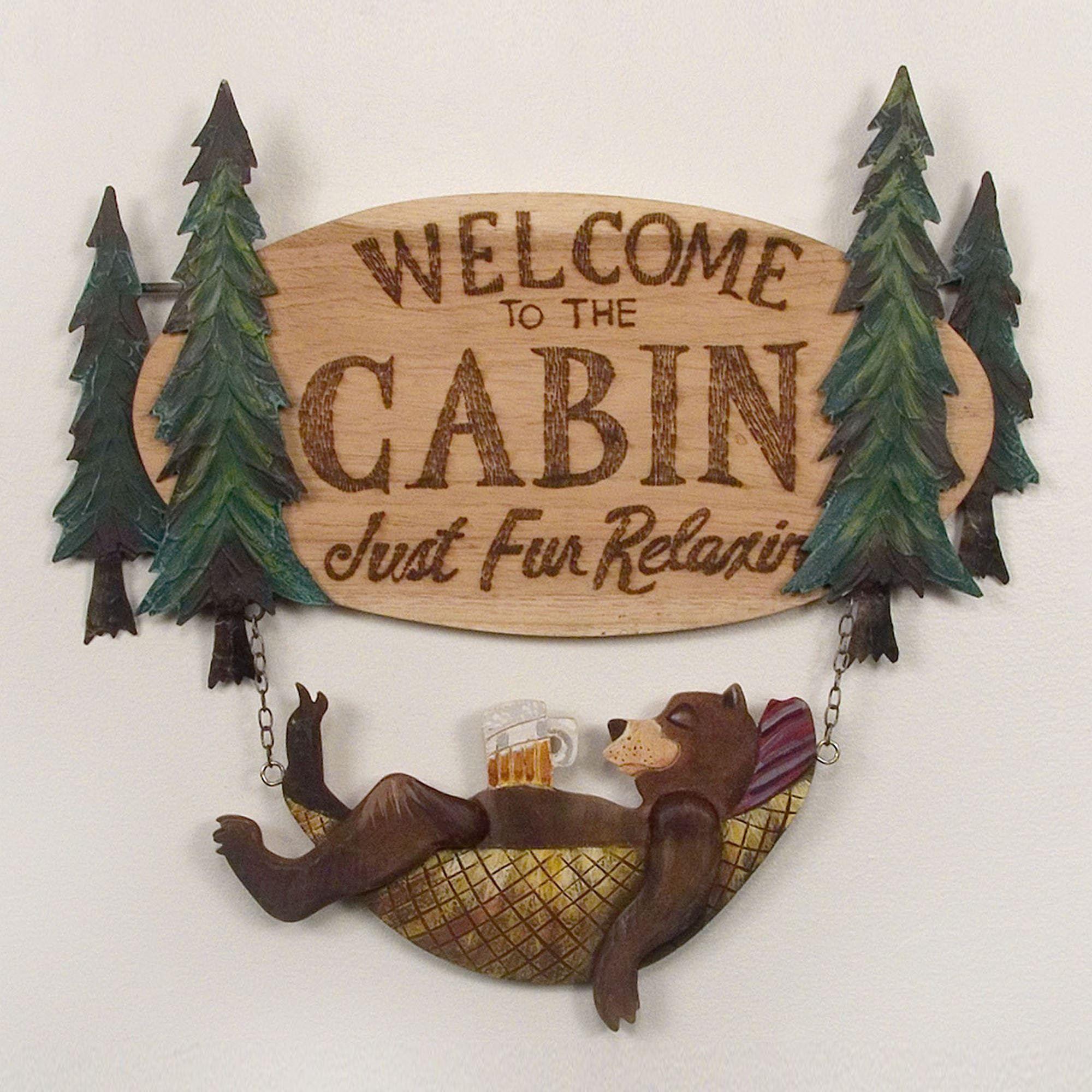 Bear Welcome Indoor Outdoor Wall Art Sign
