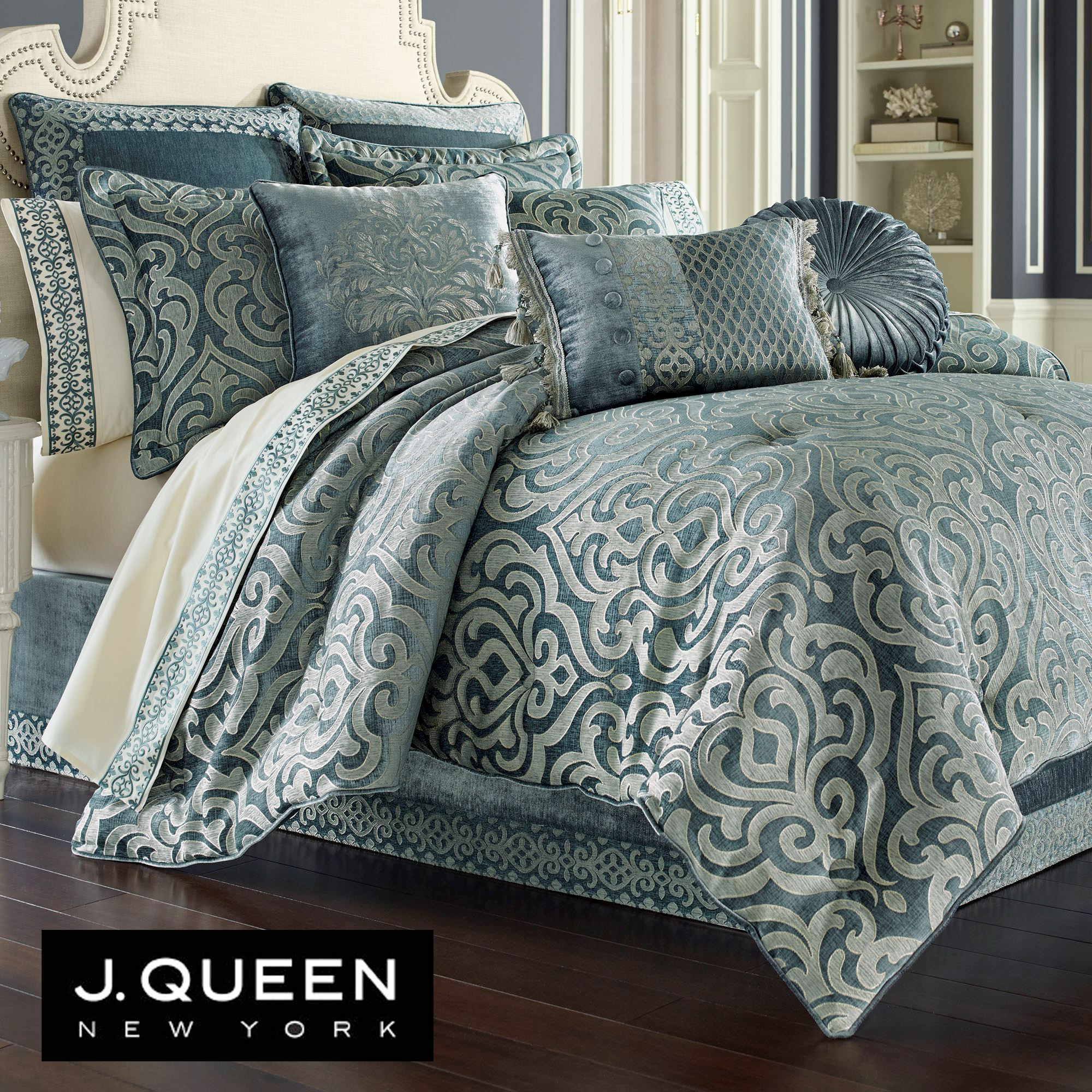Sicily Teal Medallion Comforter Bedding by J Queen New York : teal quilt set - Adamdwight.com
