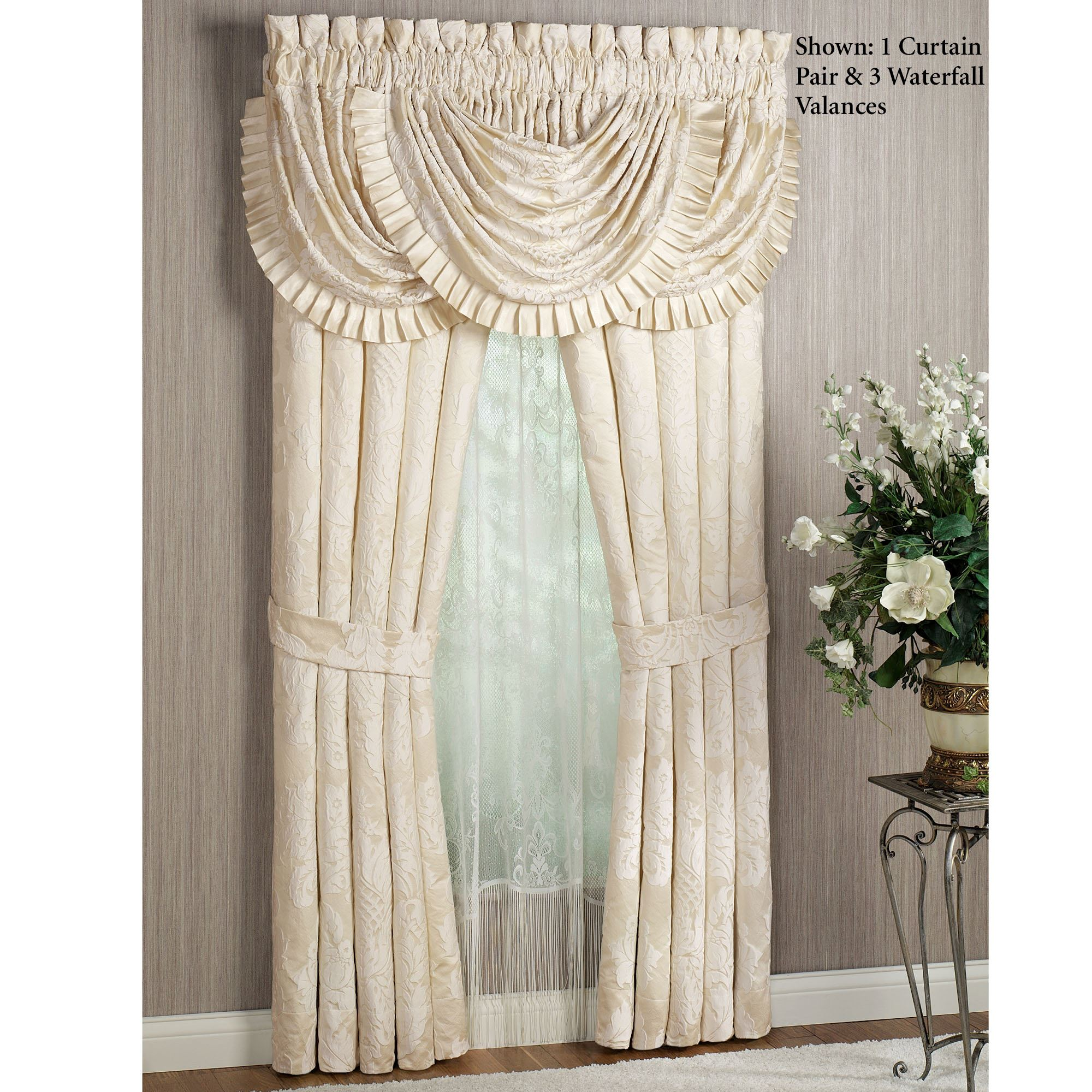 Classique Damask Waterfall Valance Window Treatment