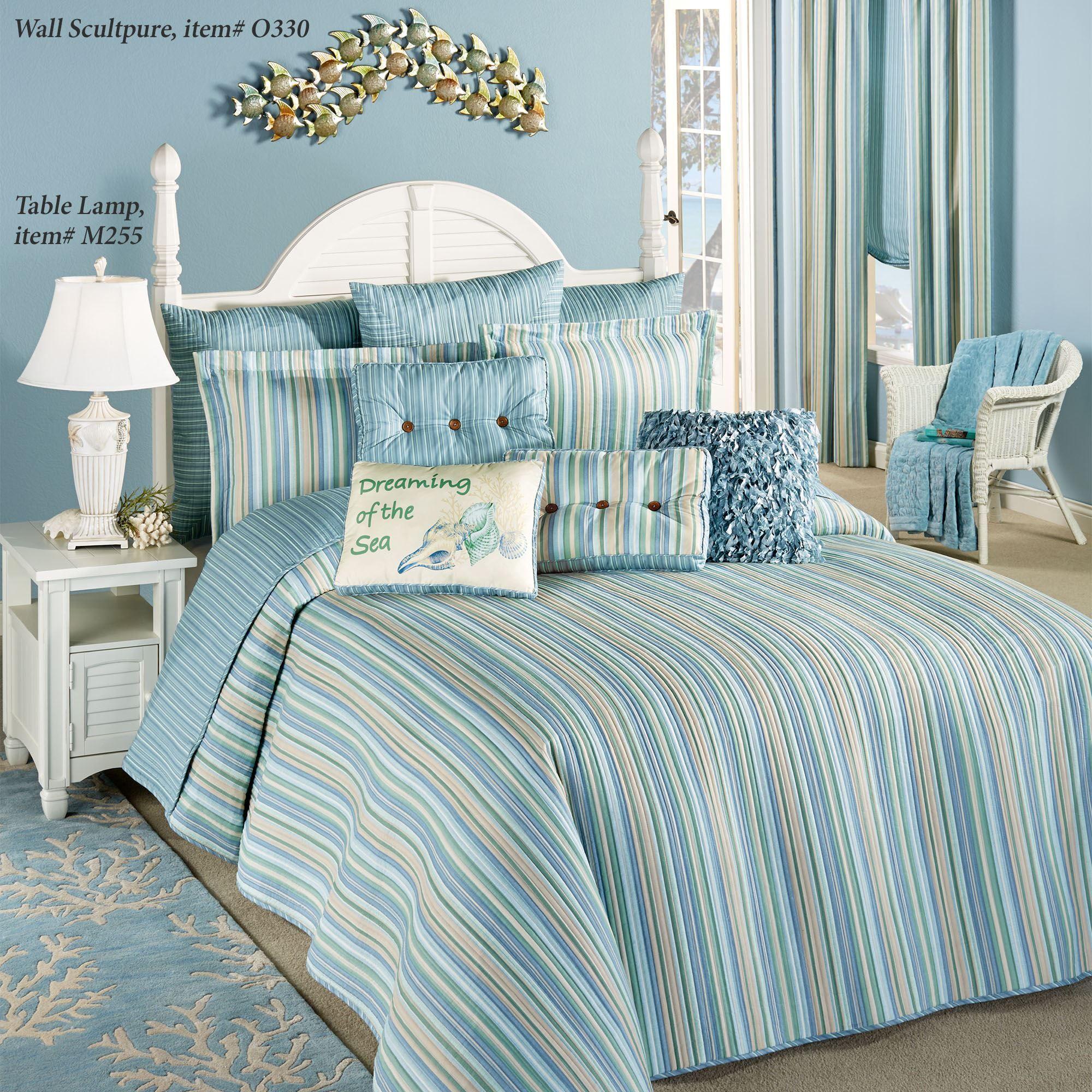 Clearwater Coastal Striped Oversized Bedspread