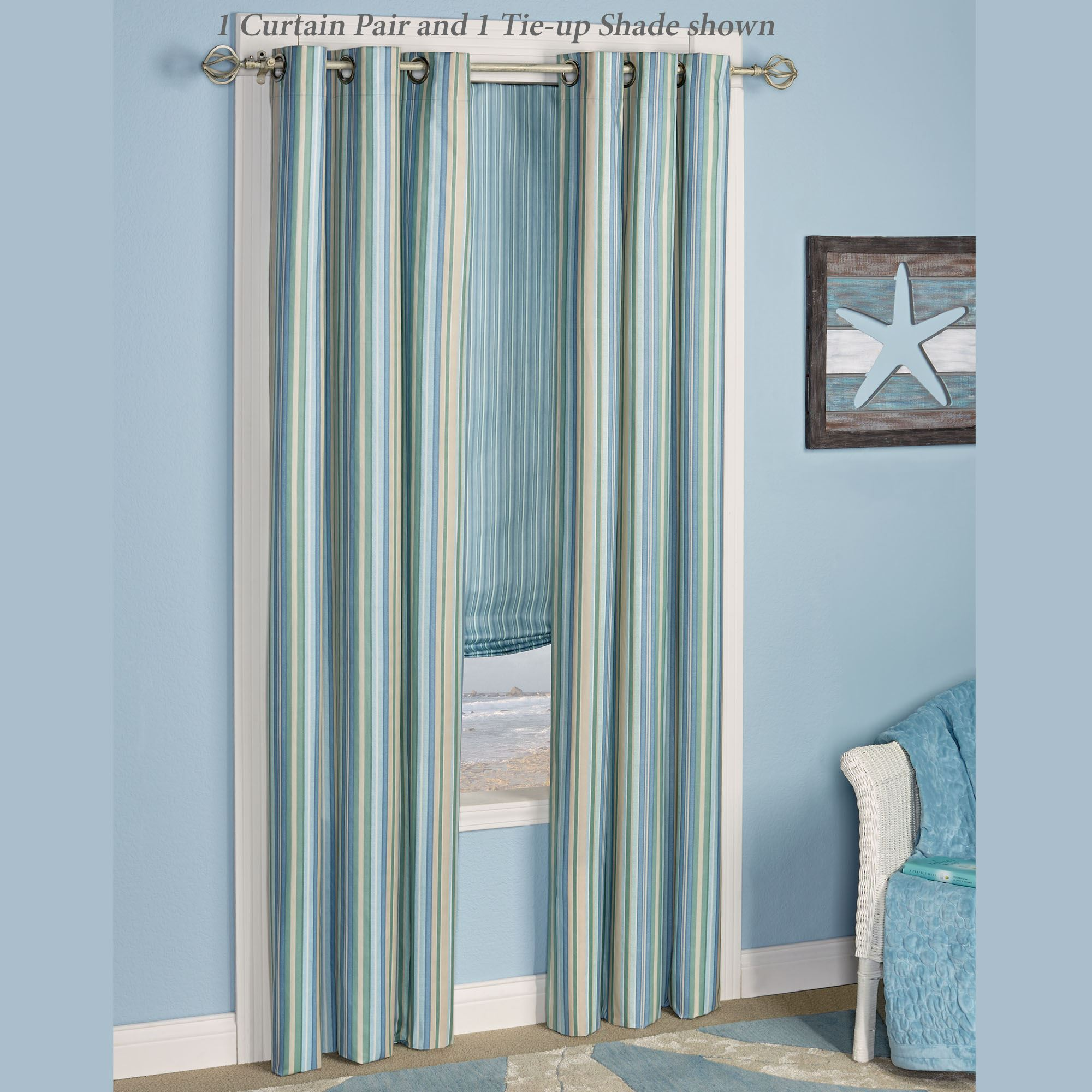 coastal window treatments beachy clearwater grommet curtain pair multi cool 84 coastal striped window treatment