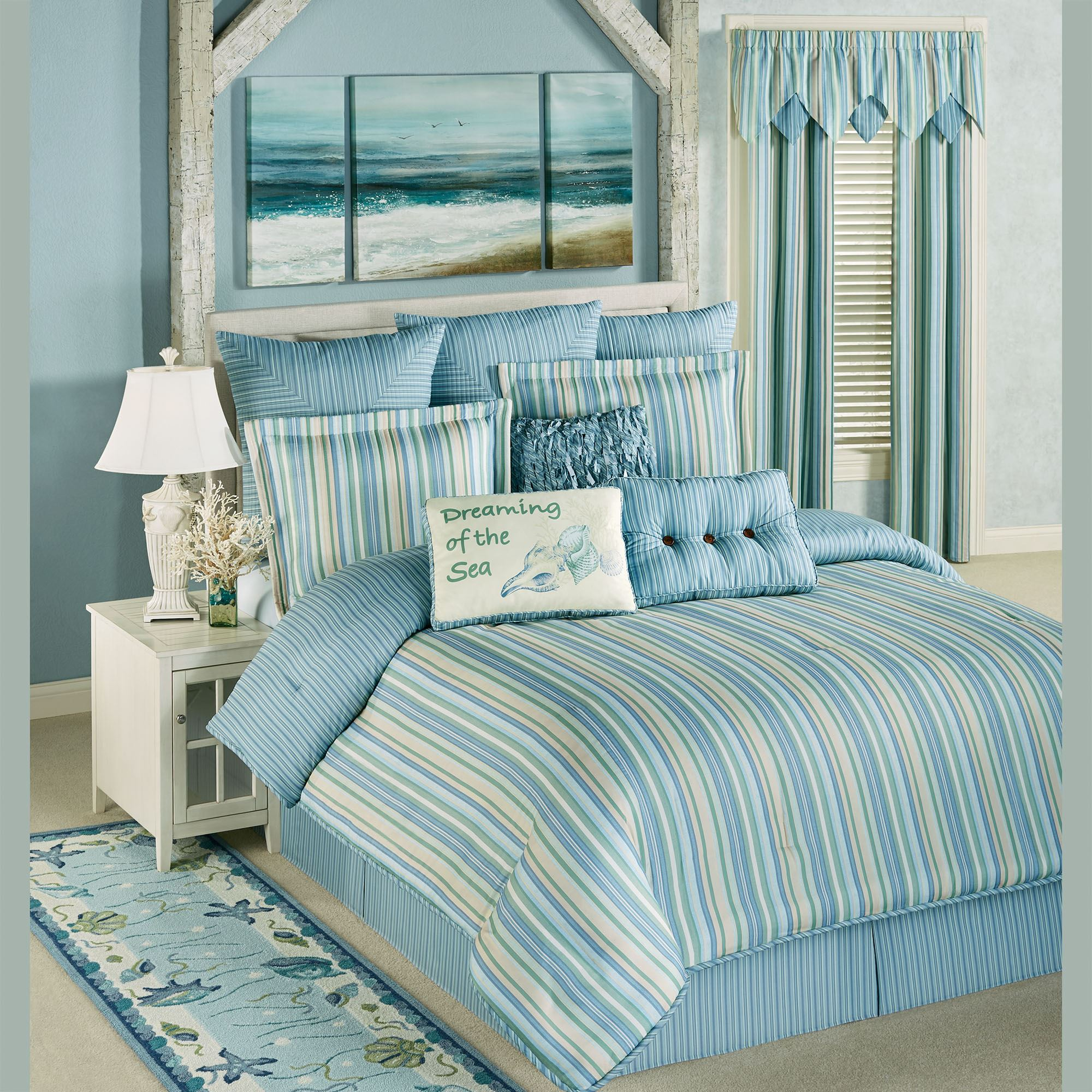 Clearwater coastal striped comforter bedding - Bedroom sheets and comforter sets ...