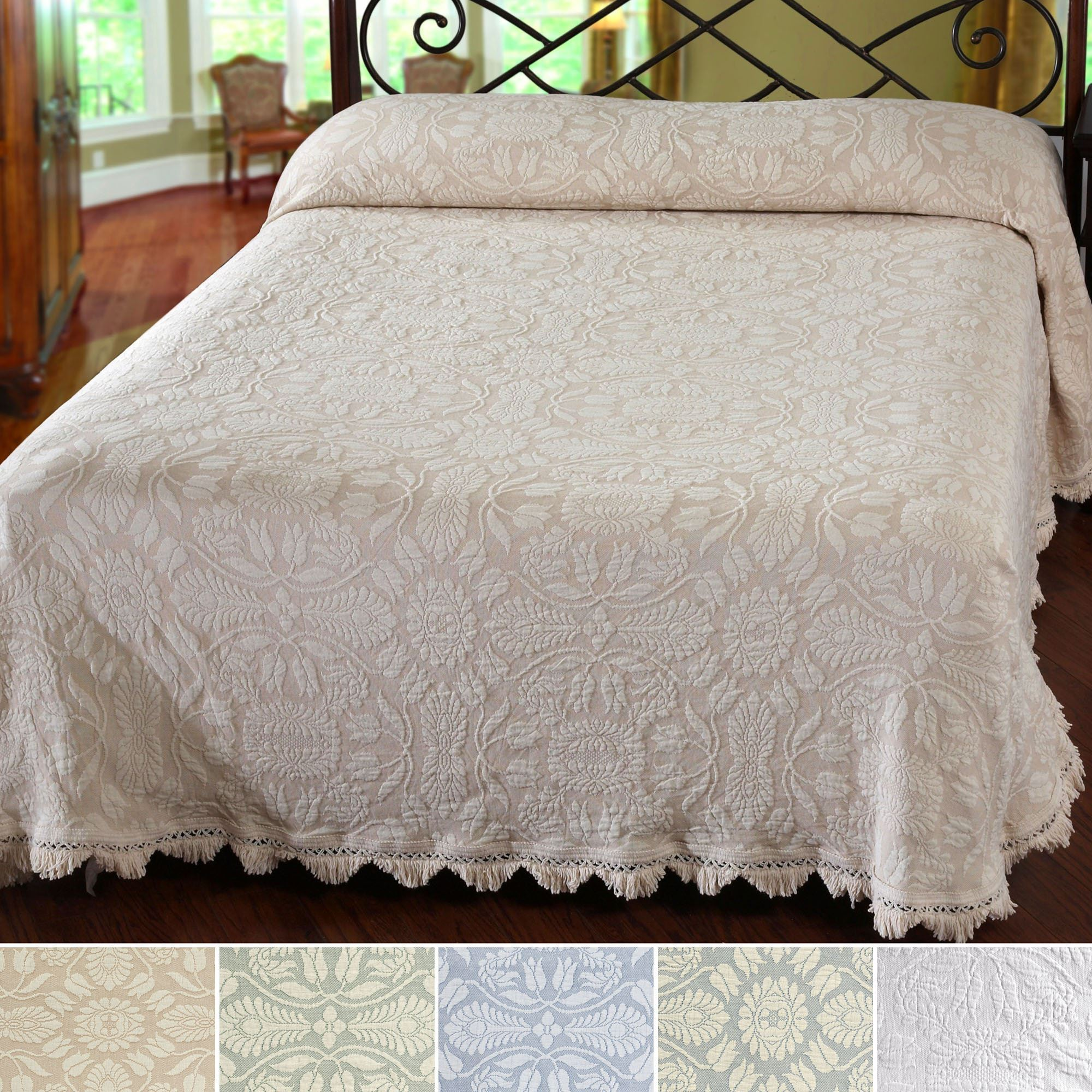 Colonial Rose Woven Matelasse Bedspread Bedding