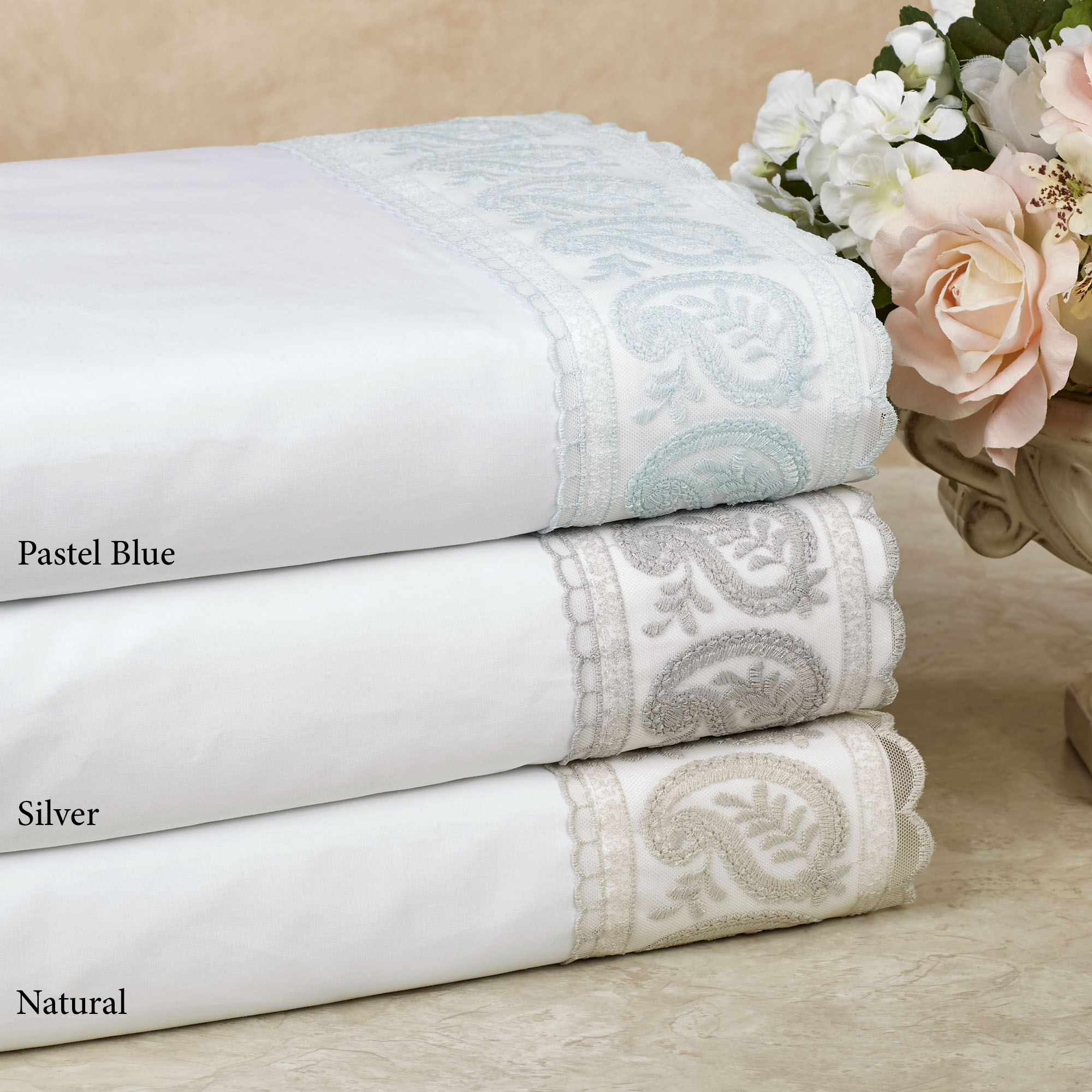 200 Tc San Remo Paisley Embroidered Sheet Set By Belle Epoque