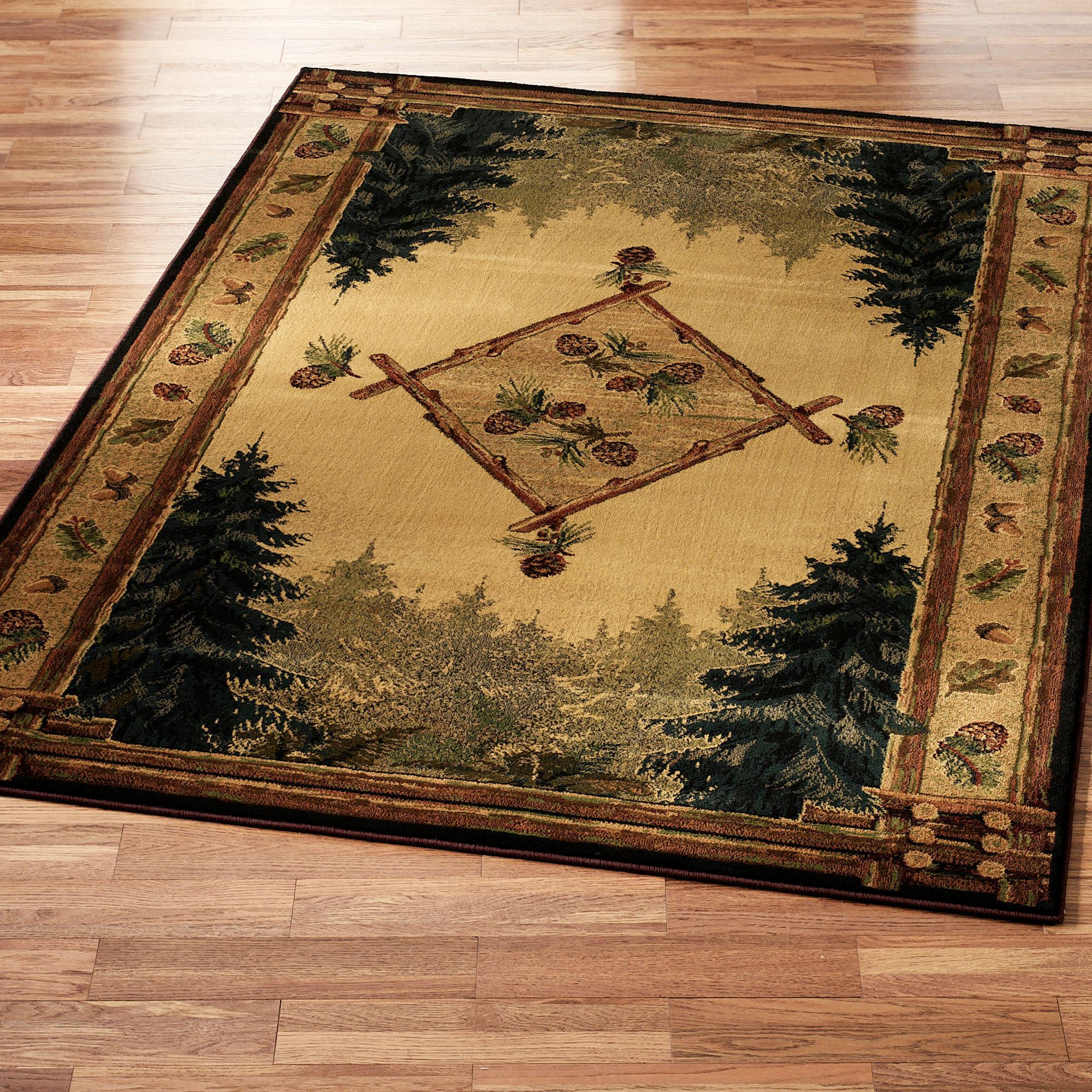 Pine cone lodge area rug for Cabin bathroom rugs