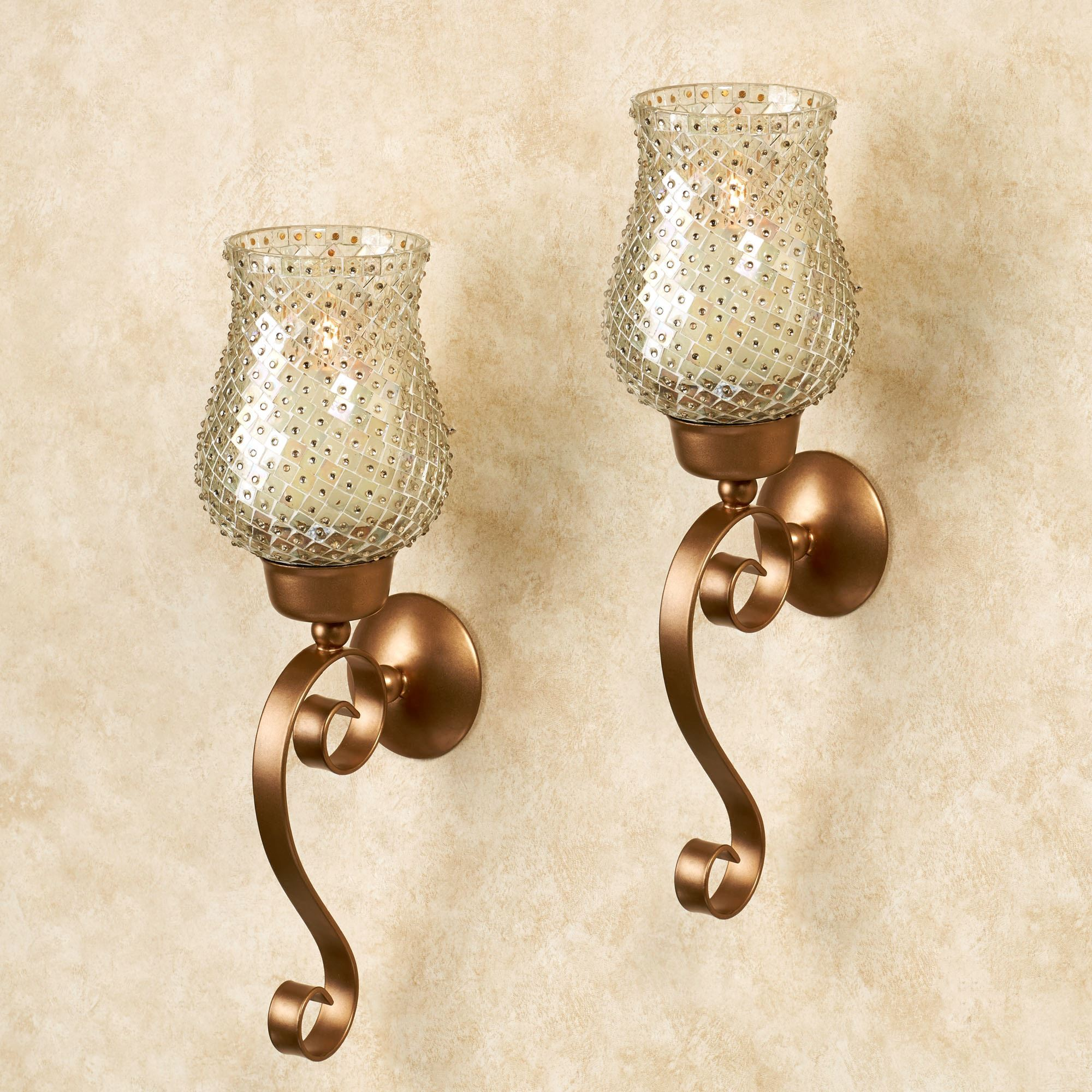 Armina beaded hurricane gold wall sconce pair