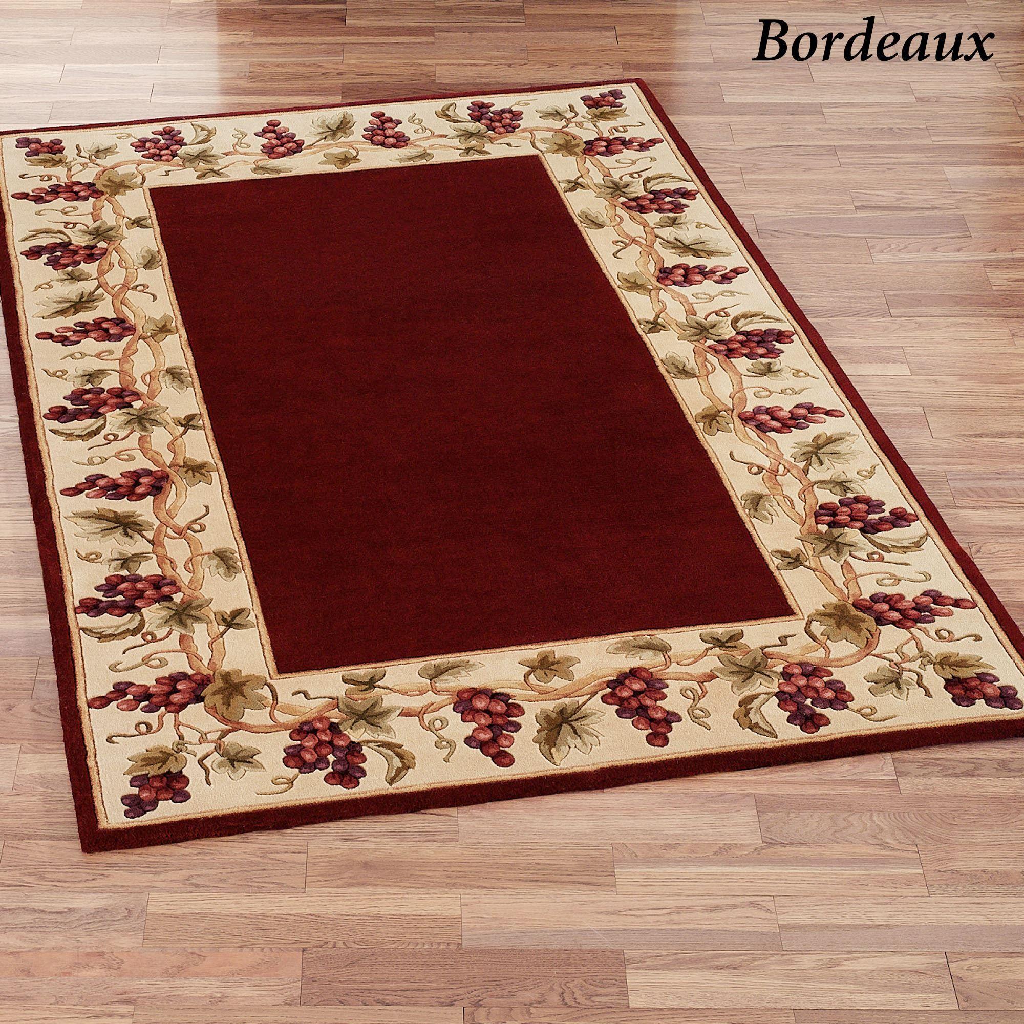 Bordeaux Grape Border Wool Round Rug