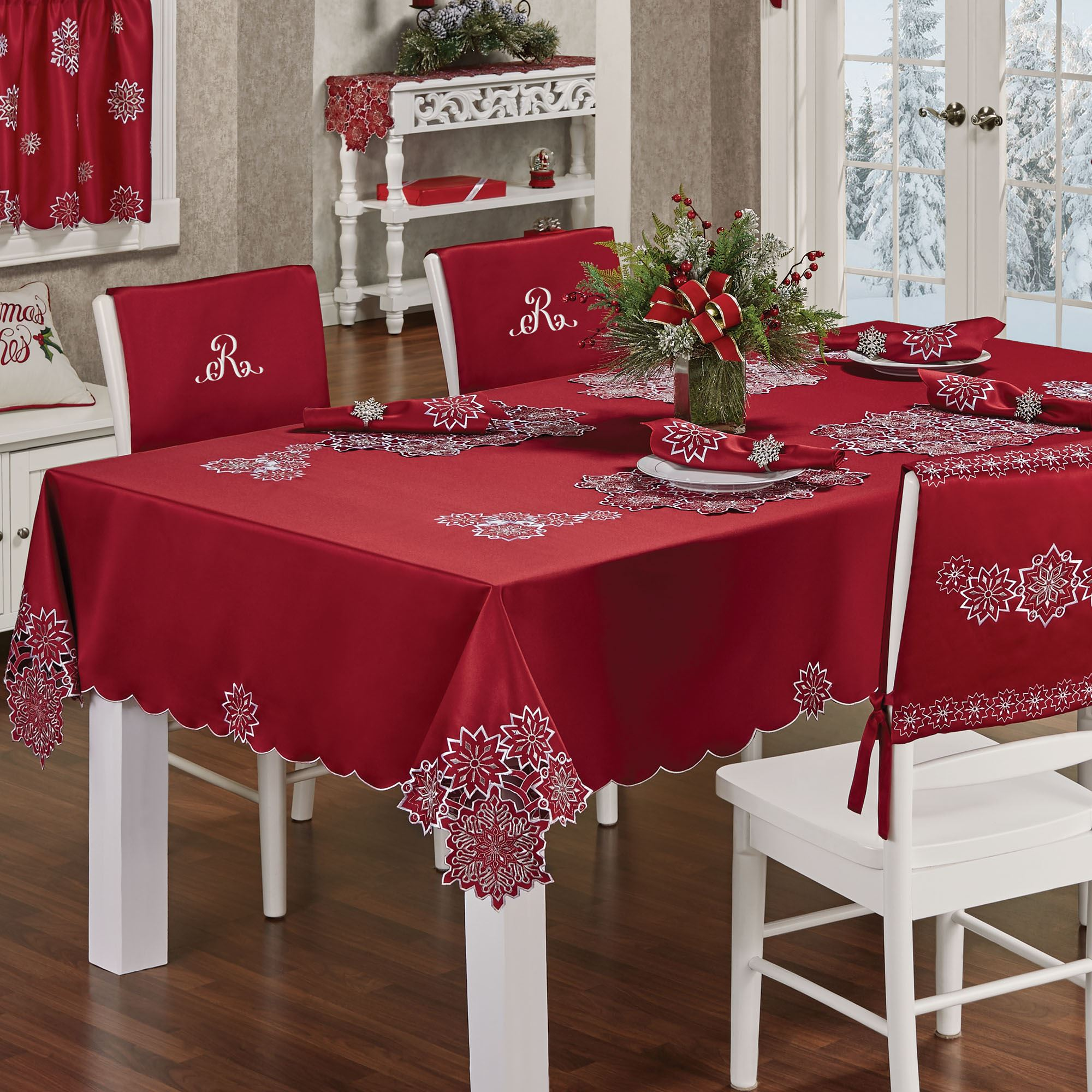 Snowflake Dark Red Holiday Table Linens