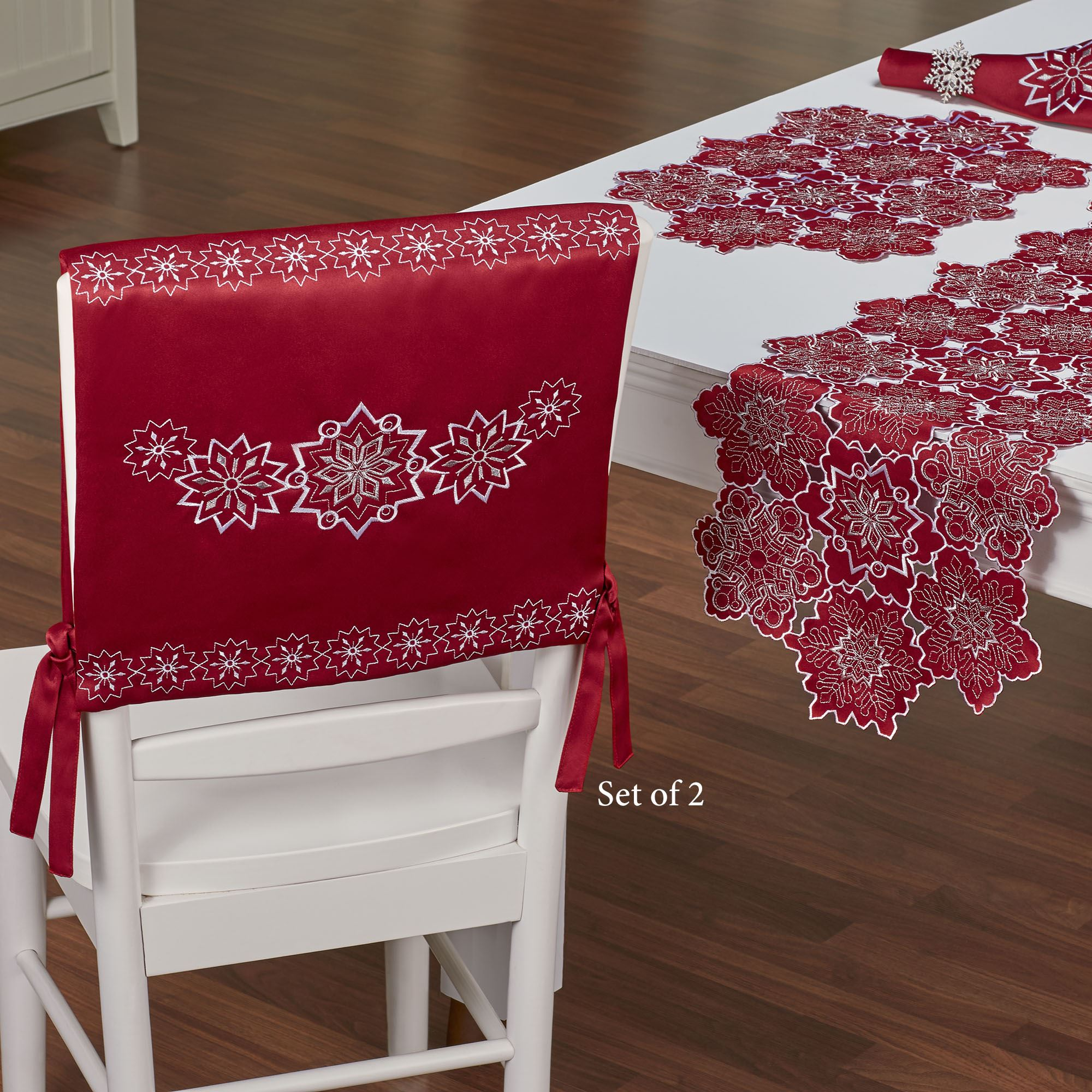 Snowflake Dark Red Holiday Chair Cover Set Of 2