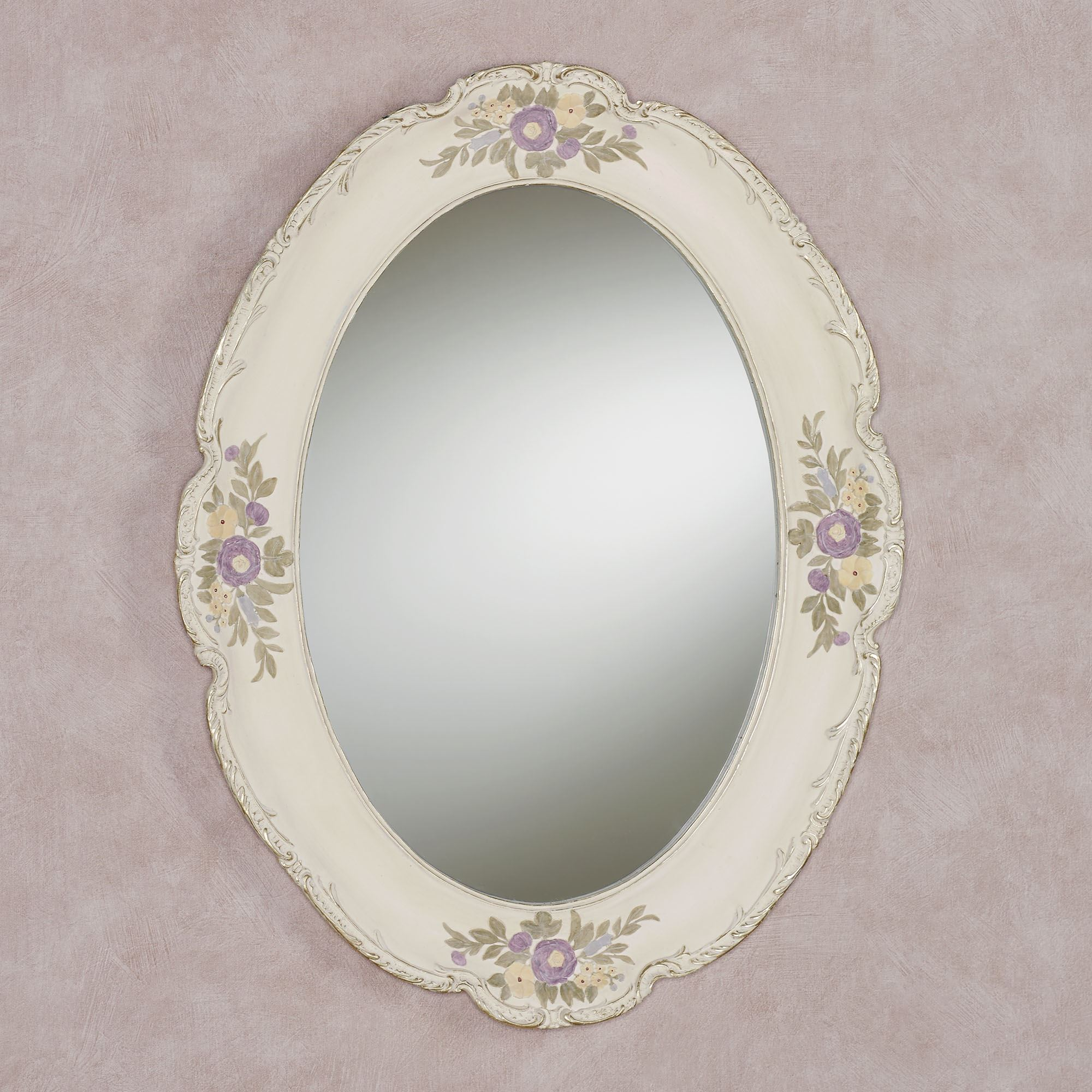Enclaire Ivory Floral Oval Wall Mirror