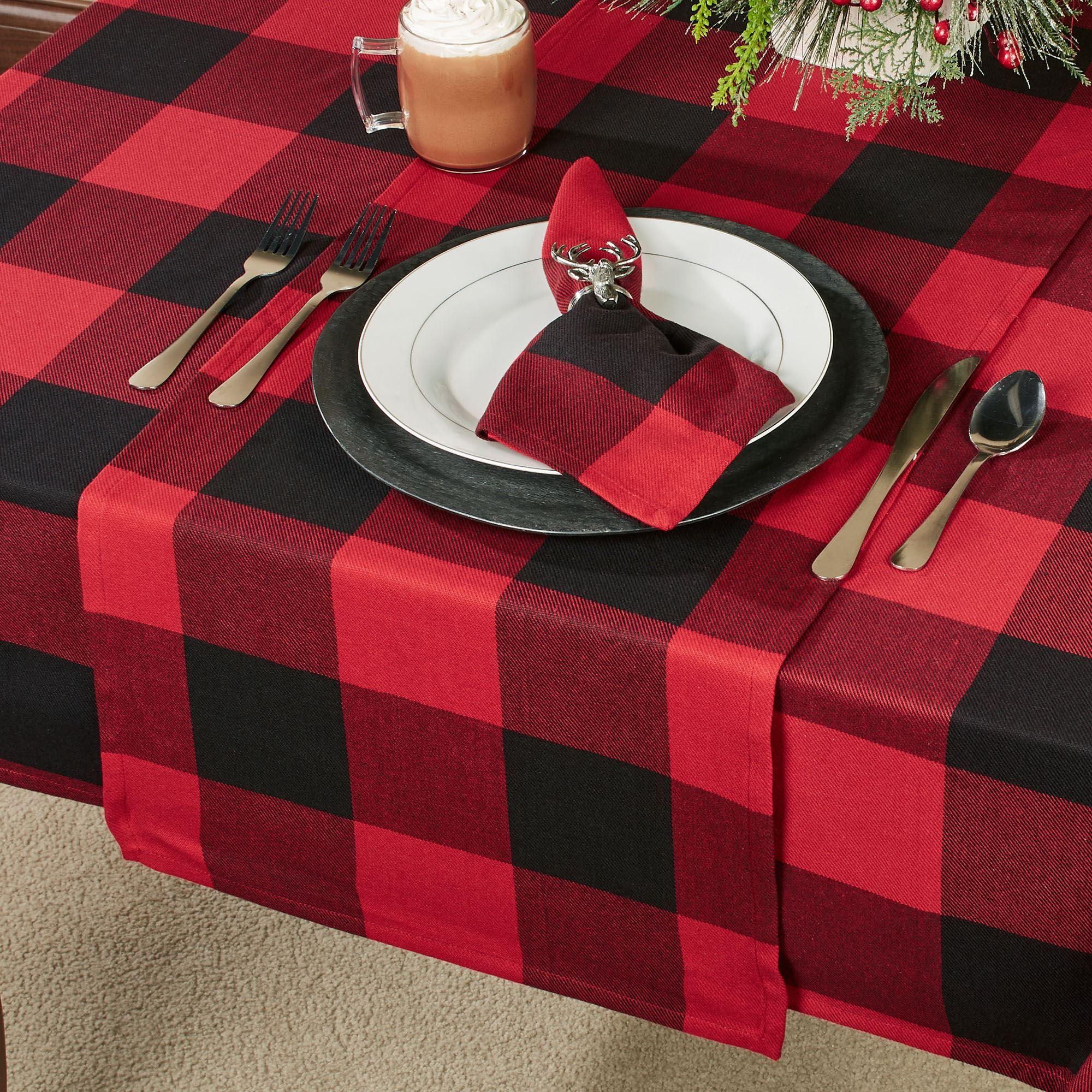 Rustic Buffalo Plaid Table Runner Red Black 16 X 72