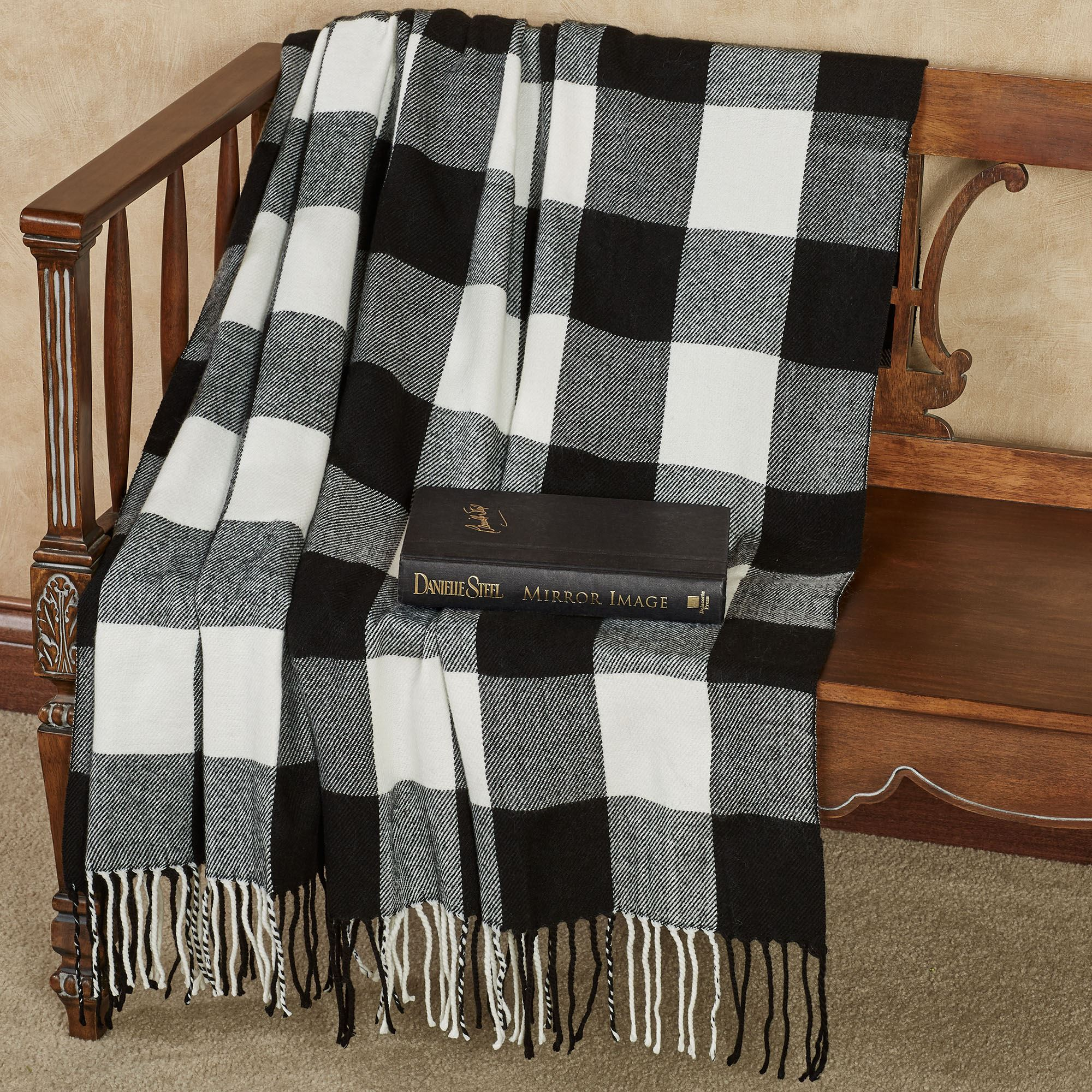 Rustic Buffalo Plaid Black and White Throw Blanket or Pillows