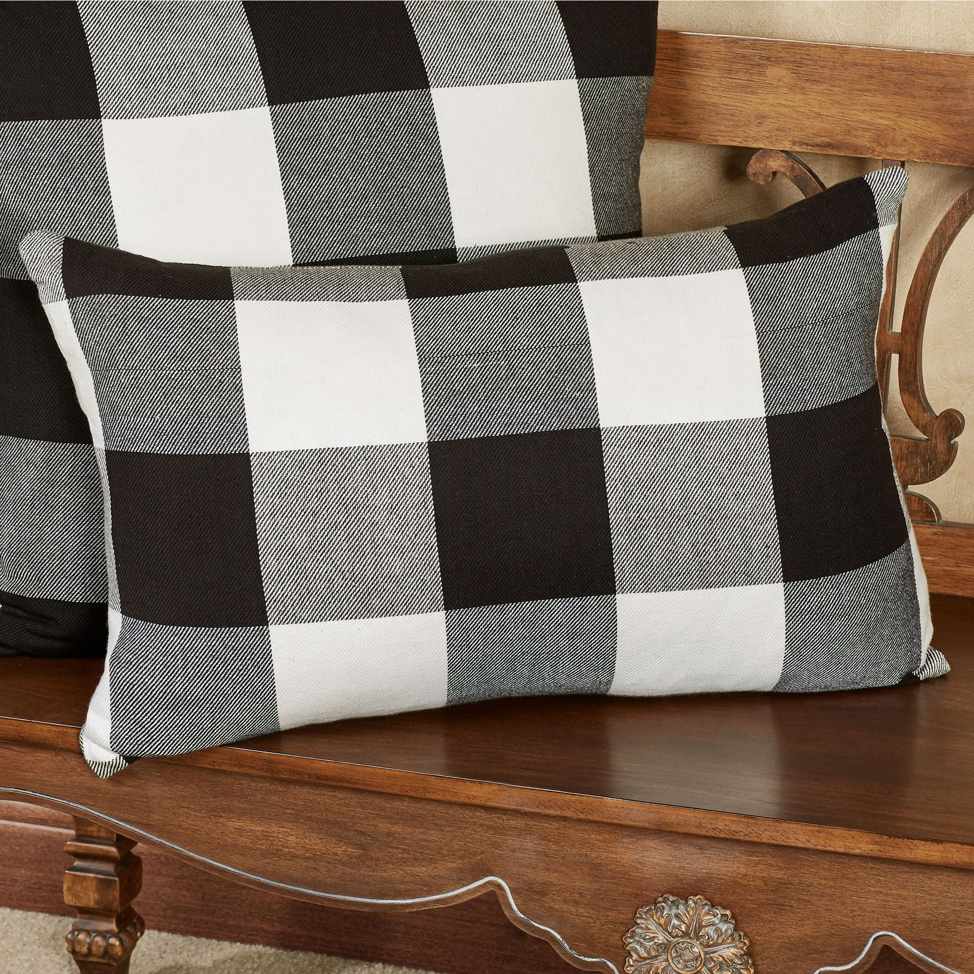 Rustic Buffalo Plaid Black And White Pillows