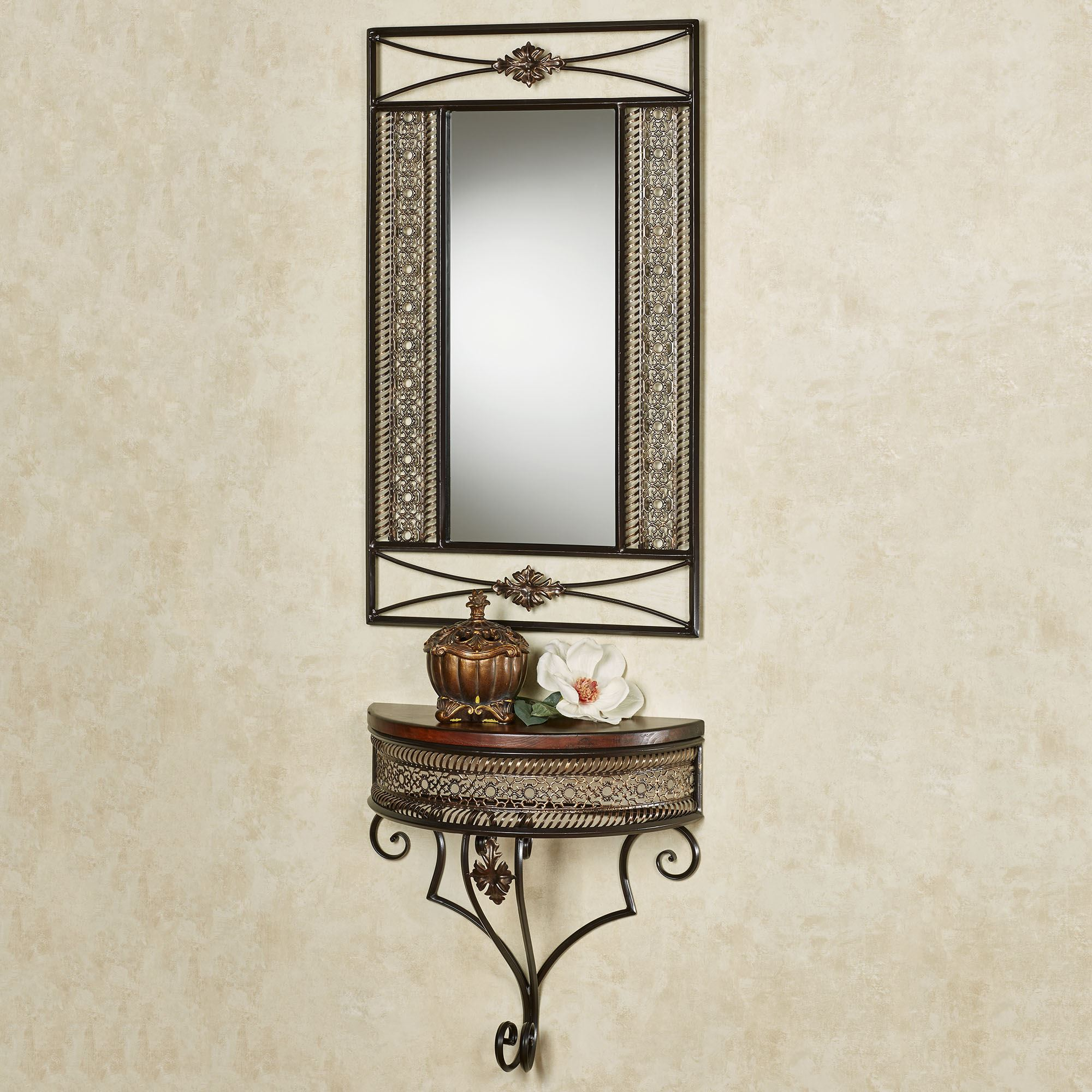 Charleston Bronze Metal Wall Mirror and Display Shelf Set