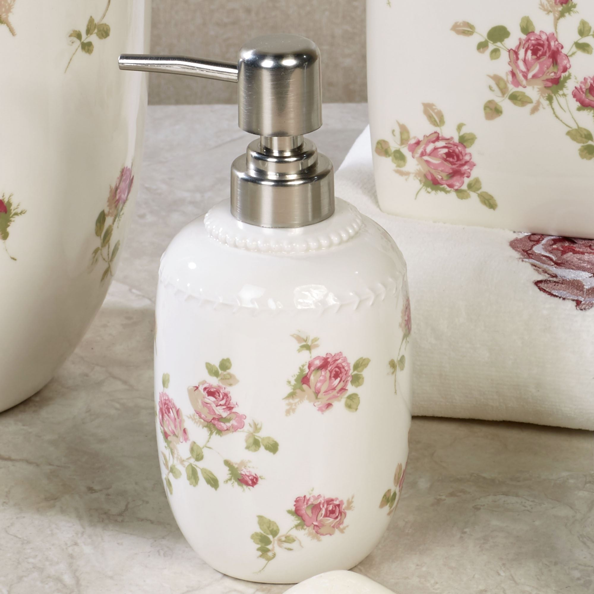 Rosalie pink floral shower curtain by piper wright - Bathroom soap and lotion dispenser set ...
