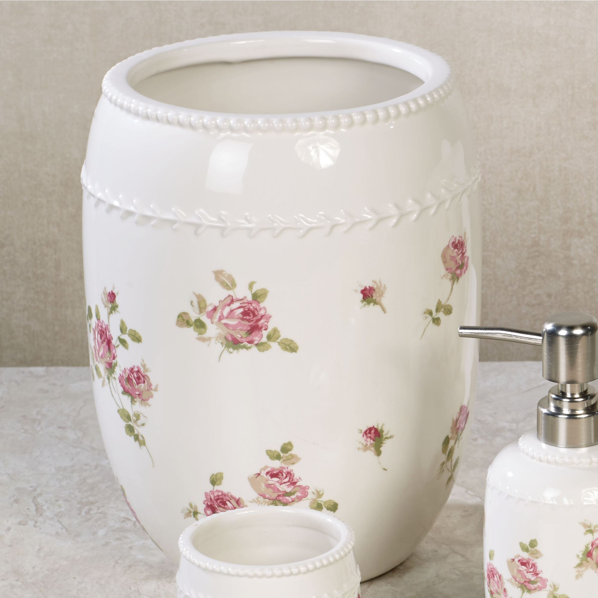 Rosalie Pink Floral Bath Accessories by Piper & Wright
