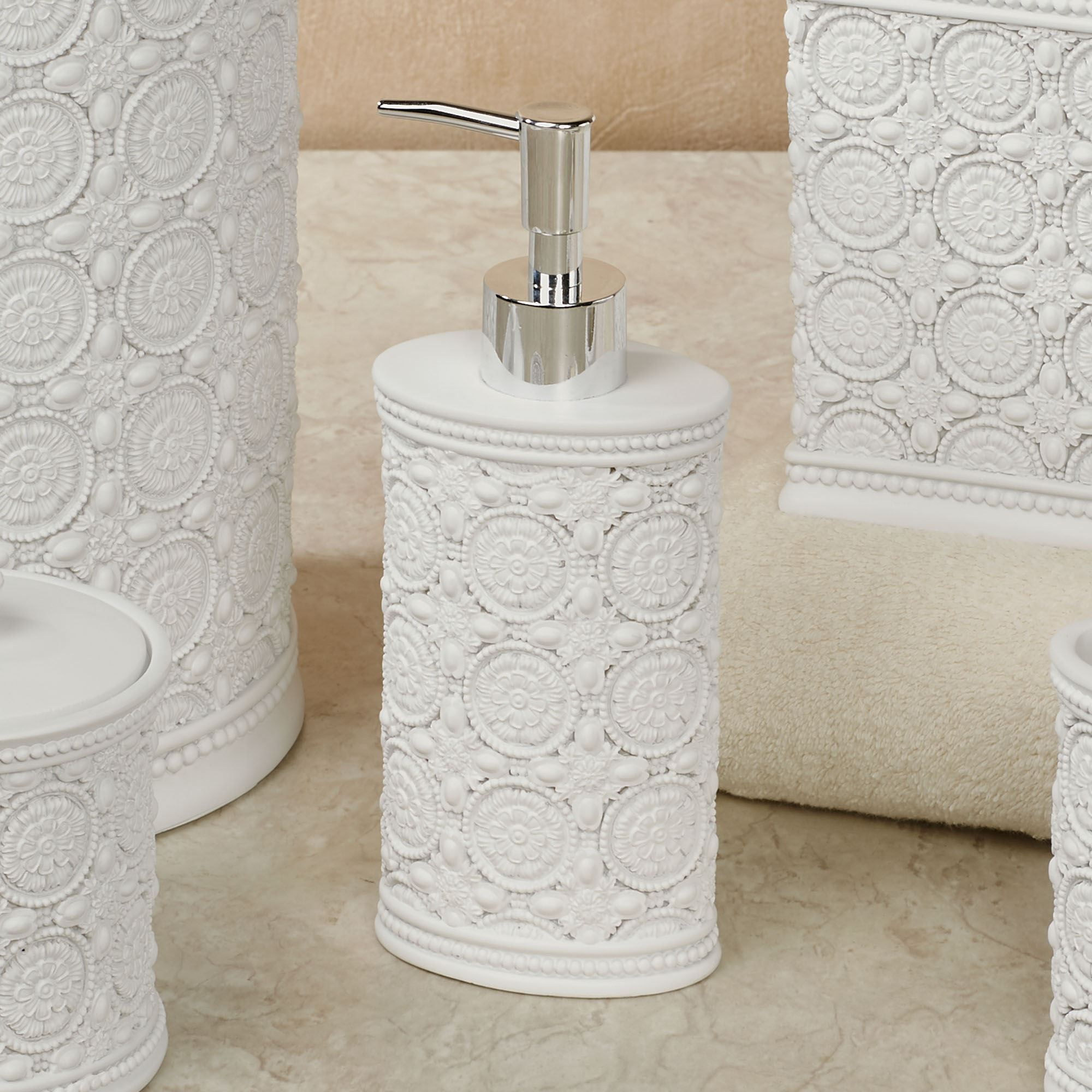 Knightsbridge Embossed Off White Bath Accessories by Avanti