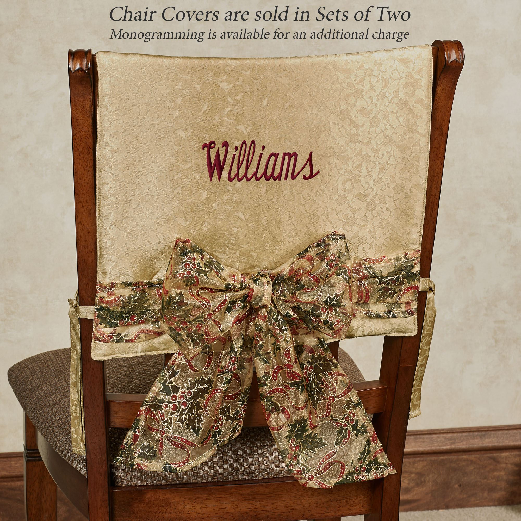 Holly Ribbon Holiday Chair Cover Set Of 2