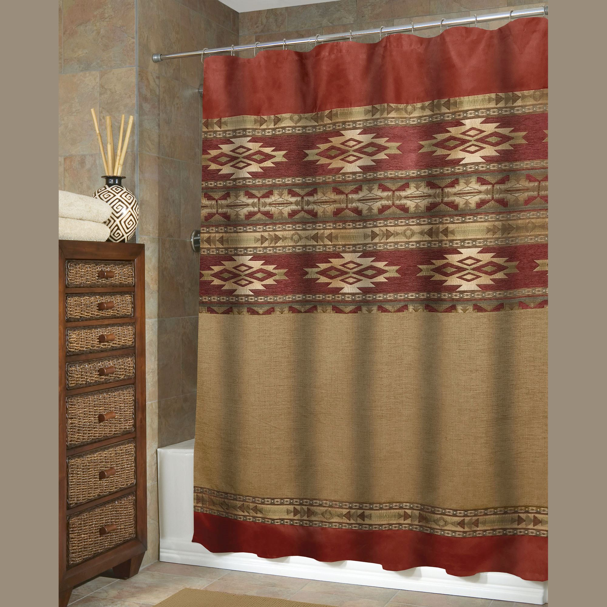 curtain southwestern images chimayo shower curtains product pendleton embroidered