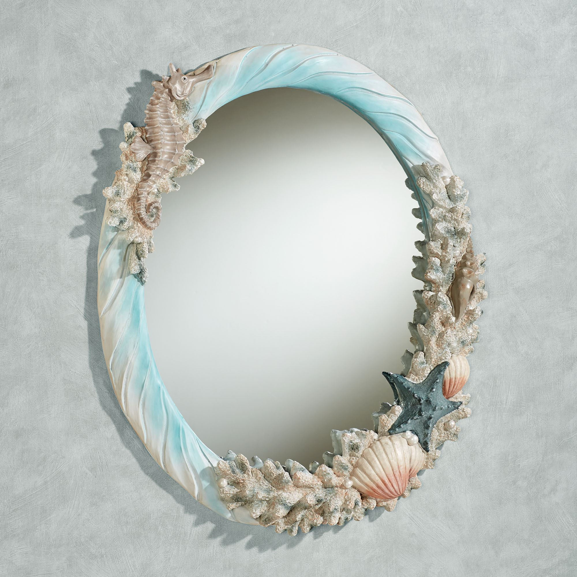 Coral Medley Coastal Oval Wall Mirror