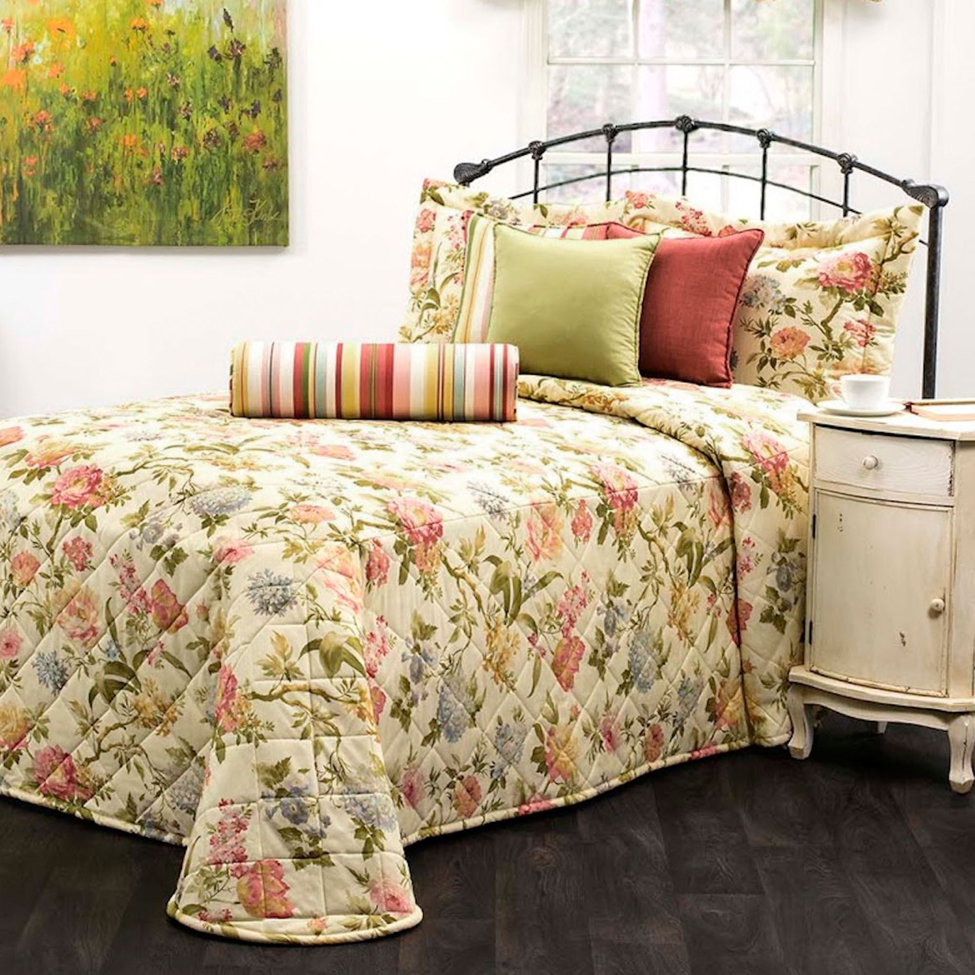 Flora Cameo Quilted Bedspread Bedding