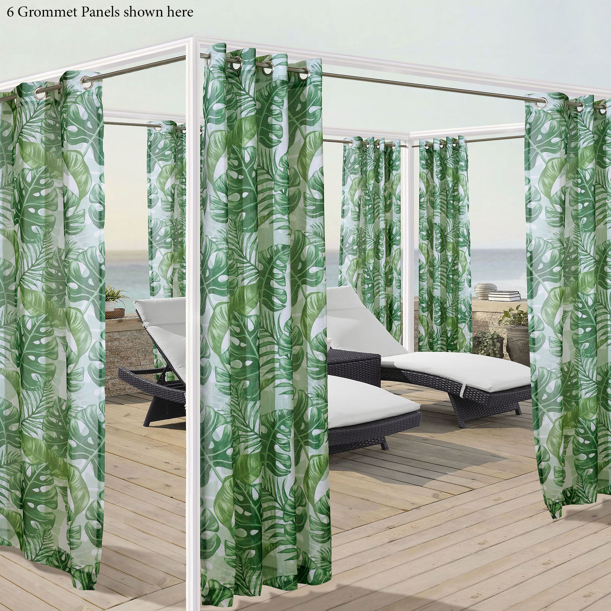 Tropical Leaf Sheer Indoor Outdoor Grommet Curtain Panel