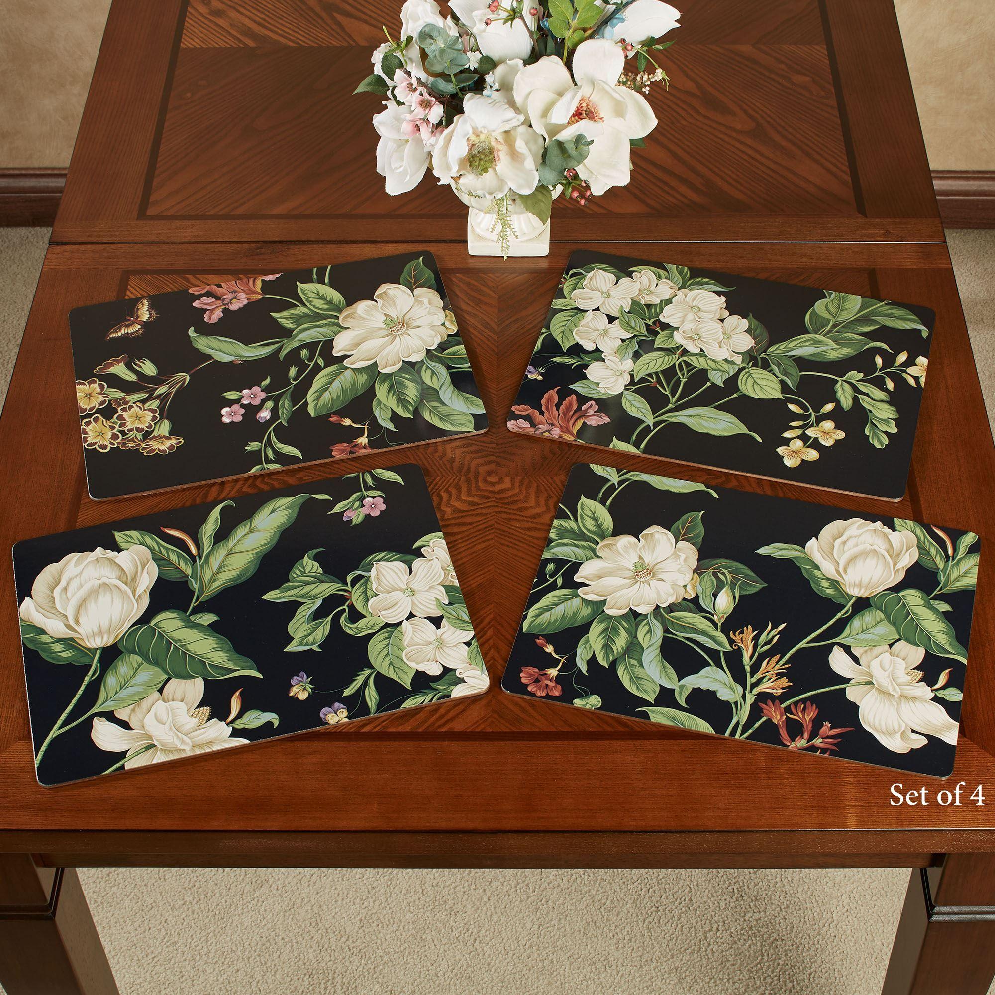 Garden Images Black Floral Hardboard Placemat Set Of 4