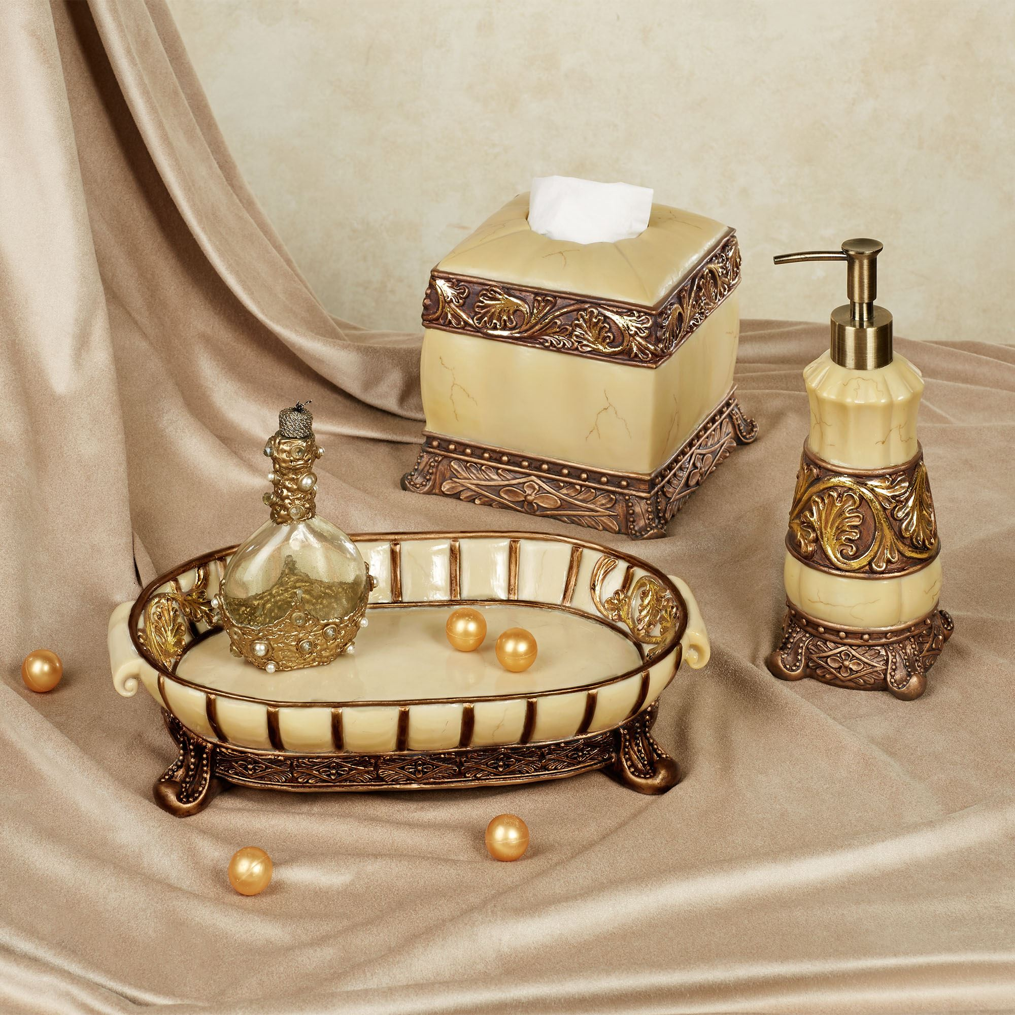 Chalmette elegant bath accessories for Gold mosaic bathroom accessories