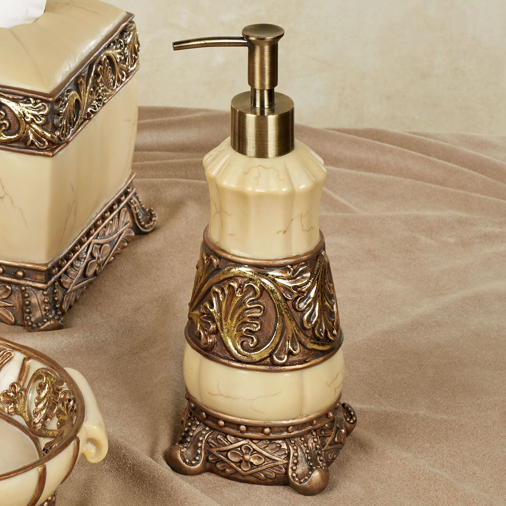 chalmette lotion soap dispenser goldivory - Bathroom Accessories Elegant