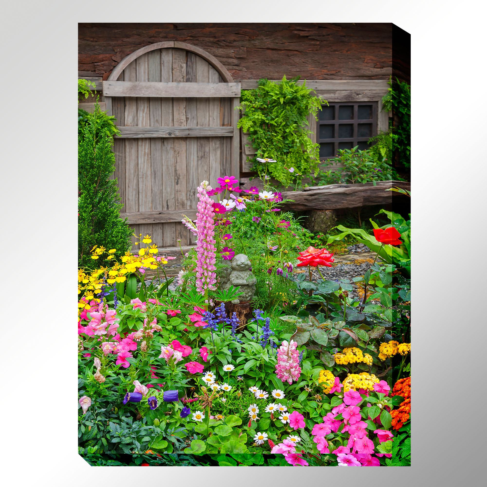 Rustic Garden Wildflower Scene Indoor Outdoor Canvas Wall Art on Outdoor Garden Wall Art Ideas id=44387