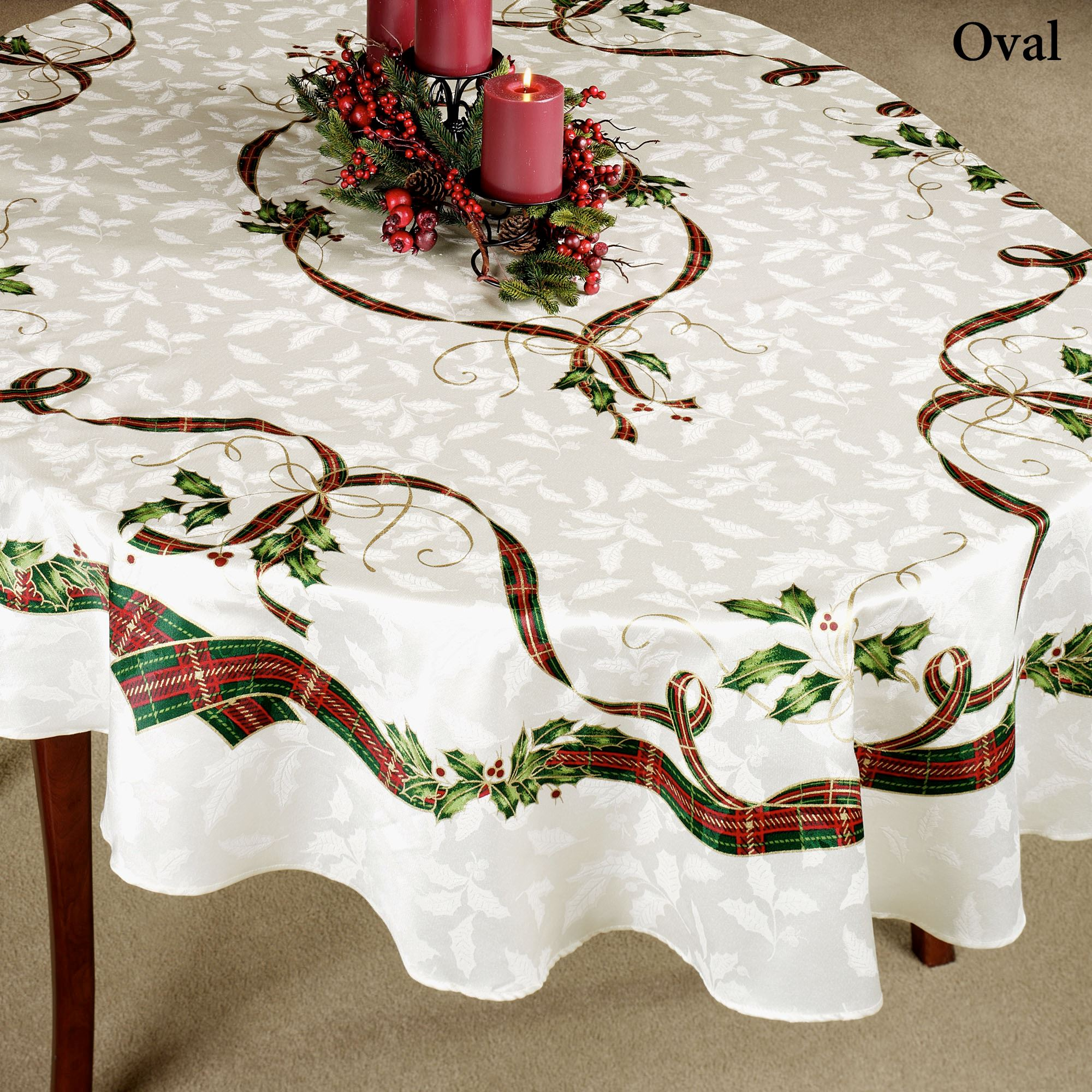 Holiday Nouveau Oblong Tablecloth Off White