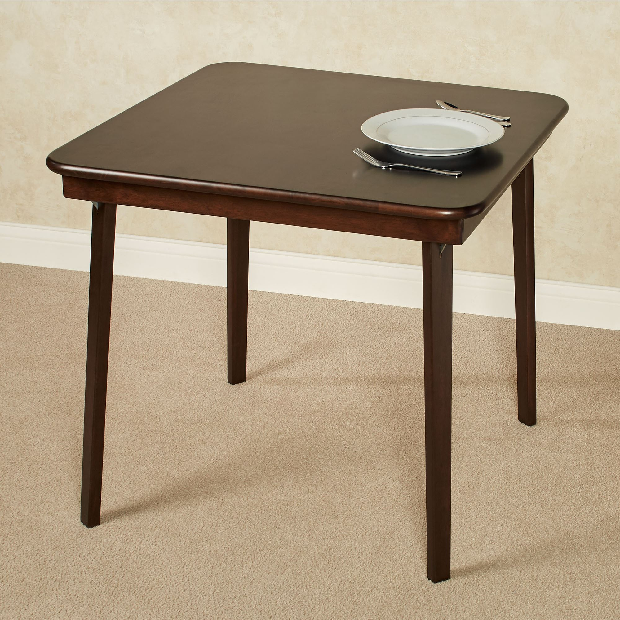 Espresso Straight Edge Folding Card Table