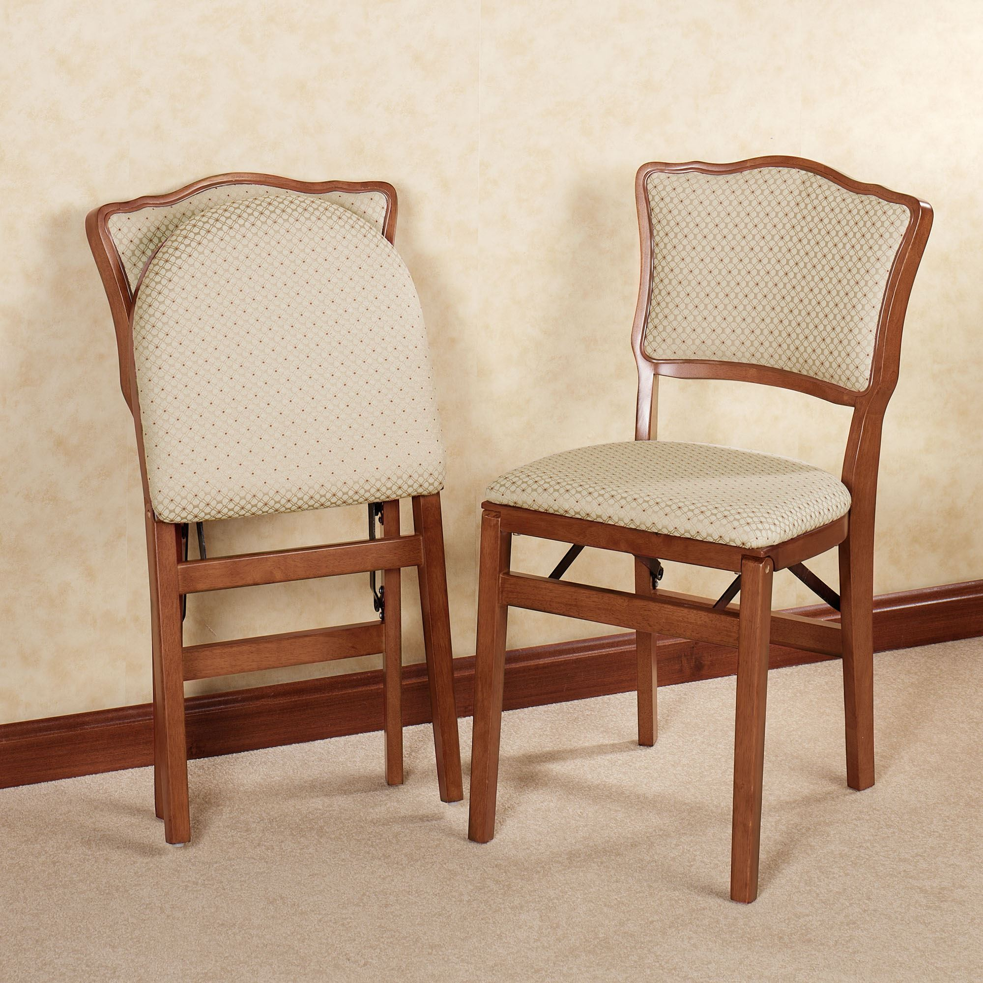 Dover Upholstered Folding Chair Pair