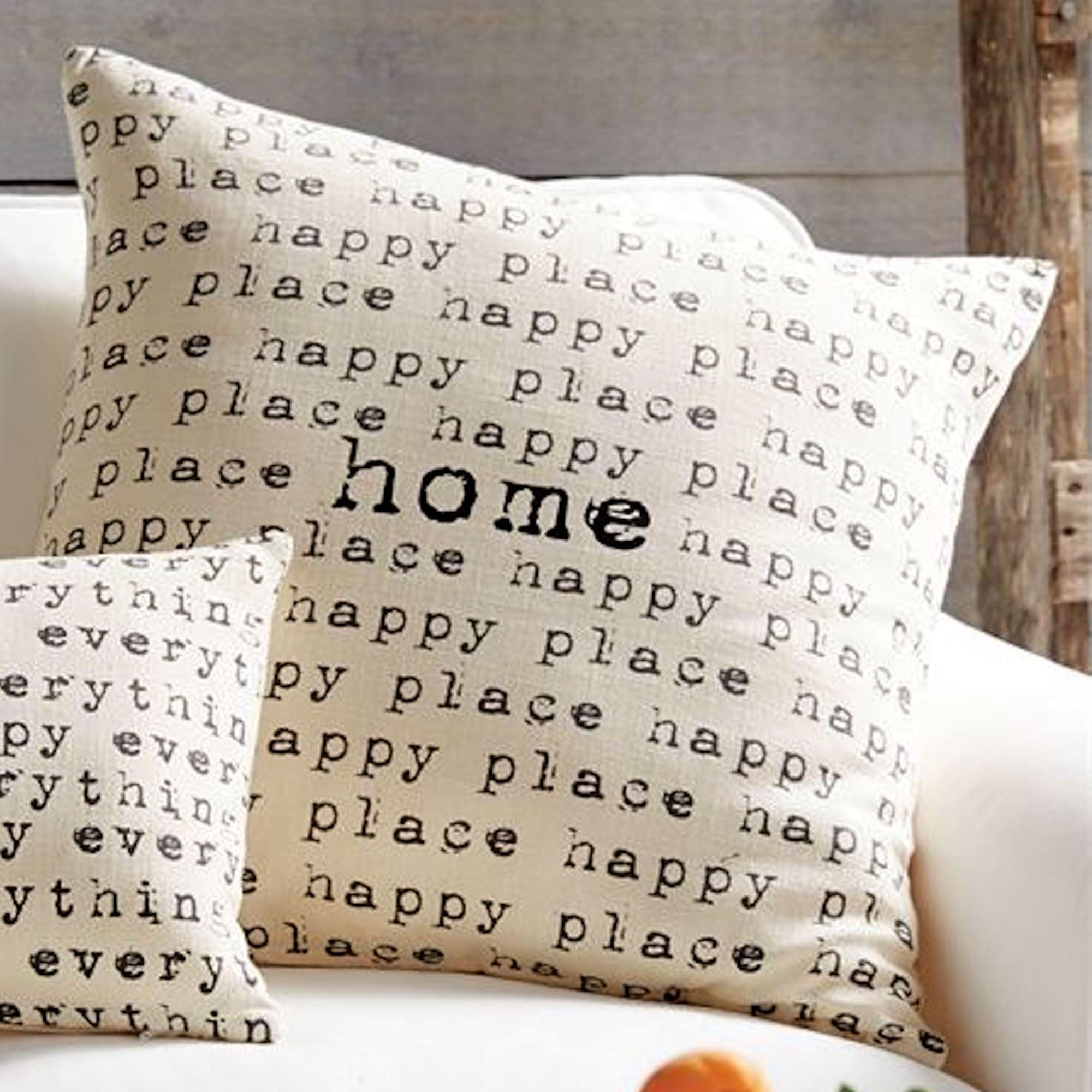 Happy Repeating Typewriter Font Word Decorative Pillows