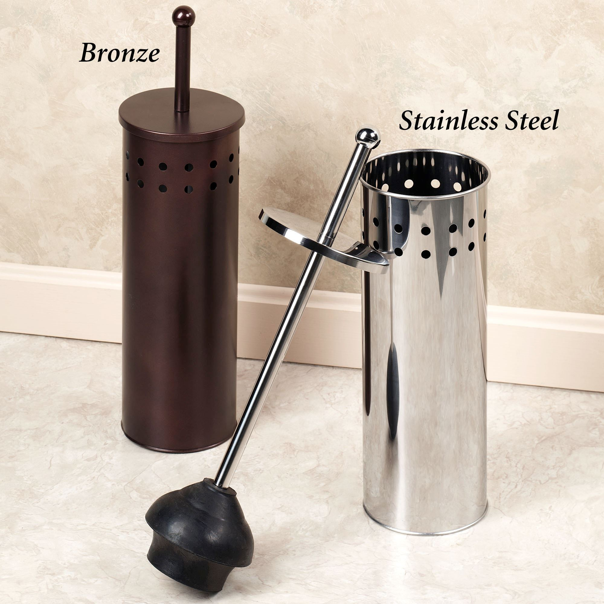 Toilet Plunger And Lidded Holder