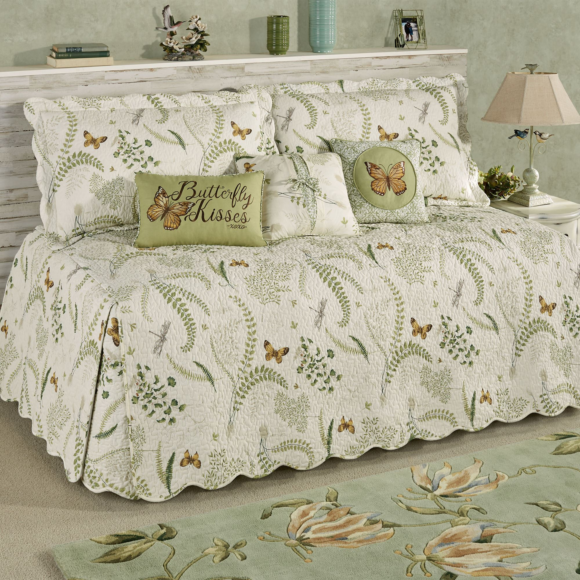 - Butterfly Eden Reversible Quilted Daybed Bedding Set