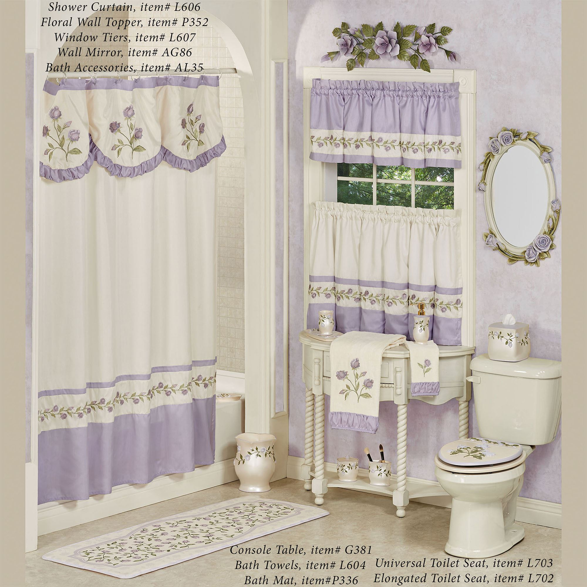 Rose Embroidered Towels: Lavender Rose Embroidered Floral Bath Towel Set