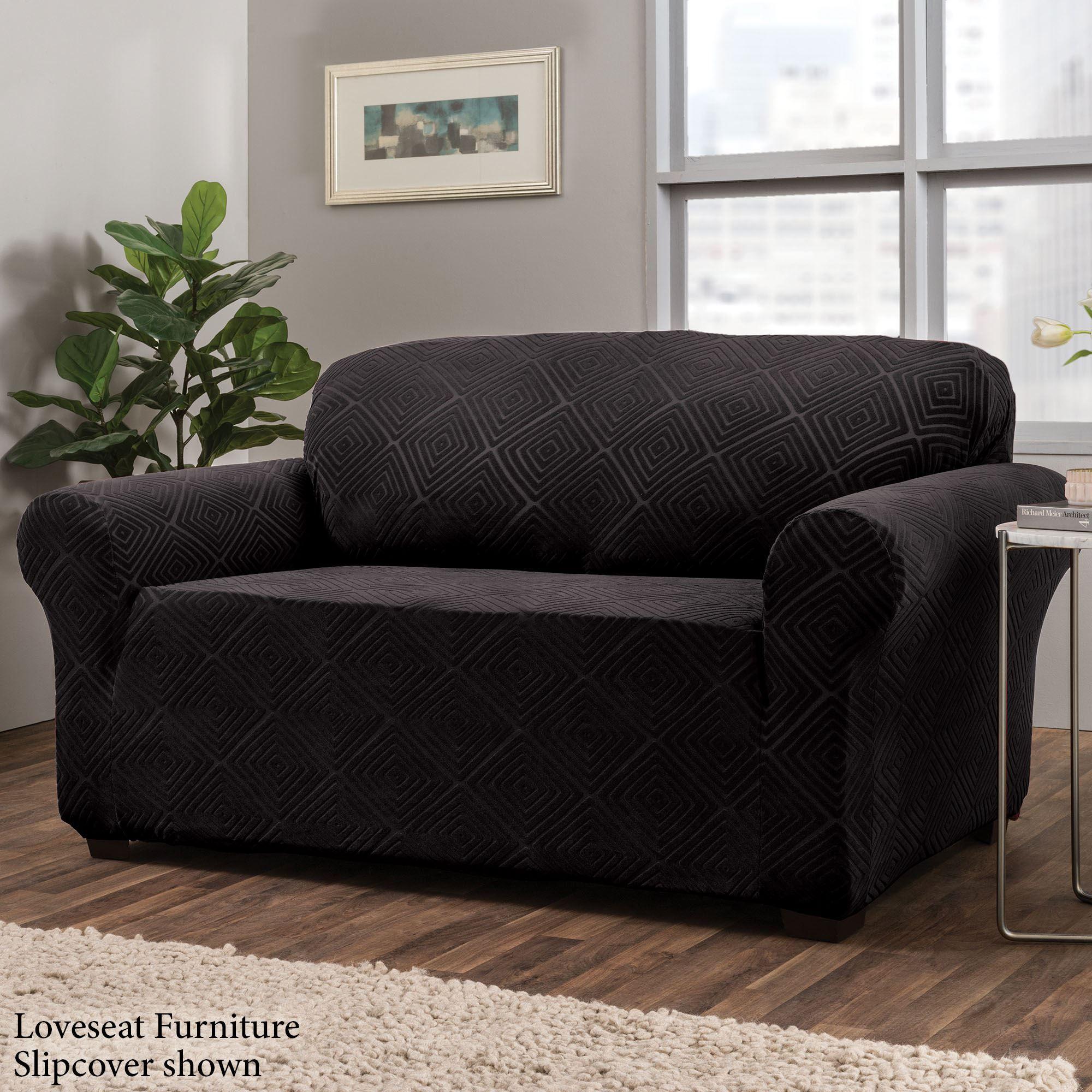 Lapeer Black Stretch Furniture Slipcovers
