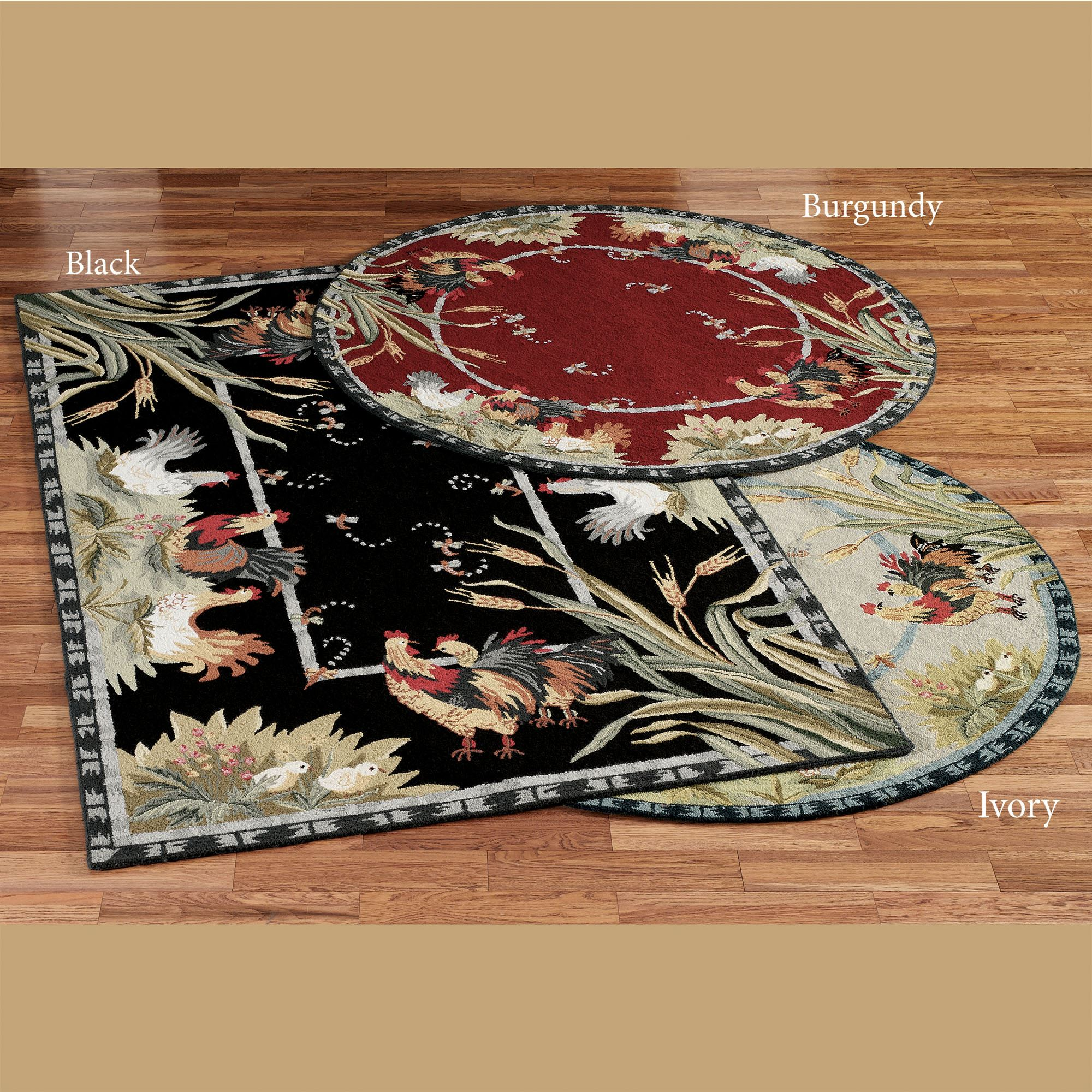 Rooster And Hens Round Rugs