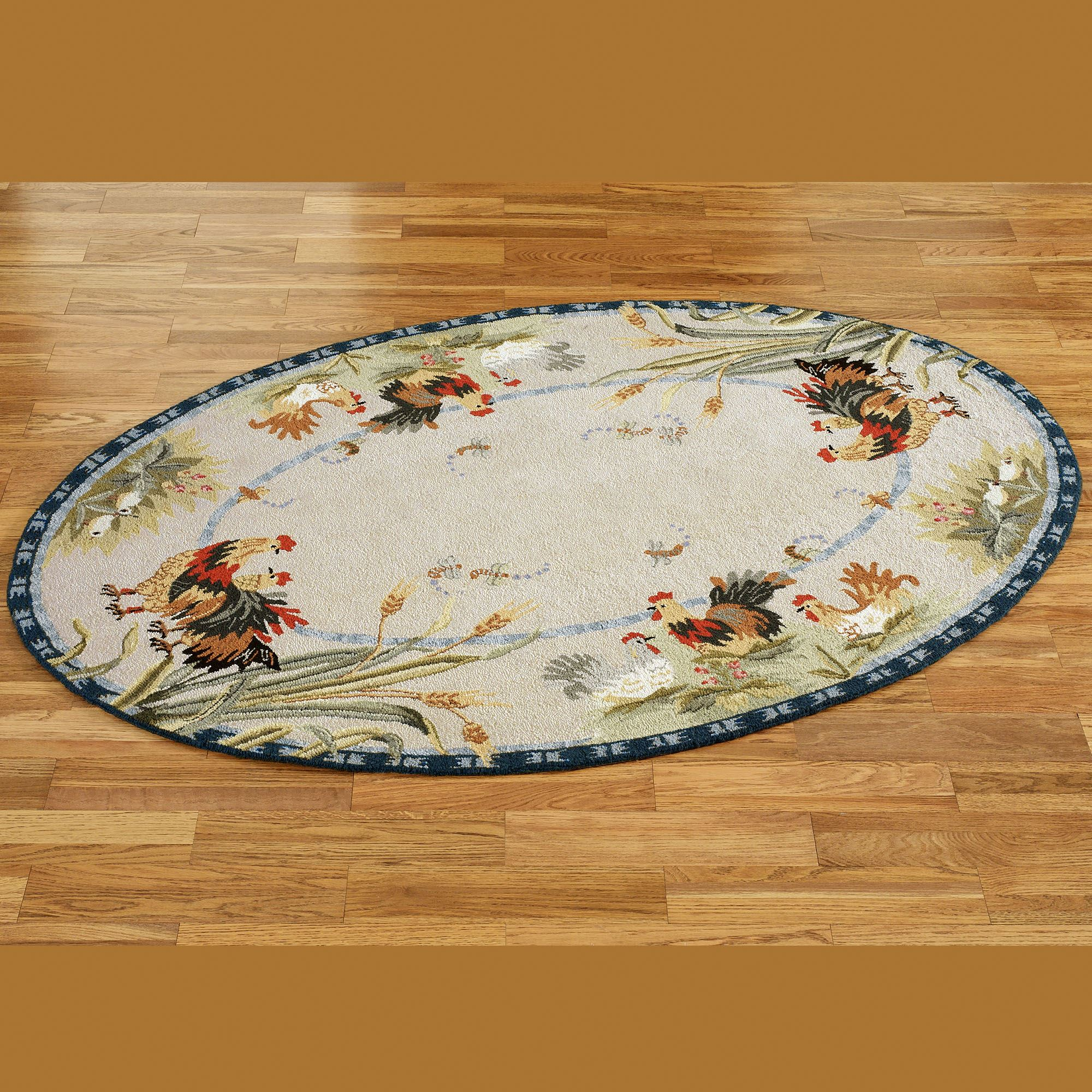Rooster And Hens Oval Rugs