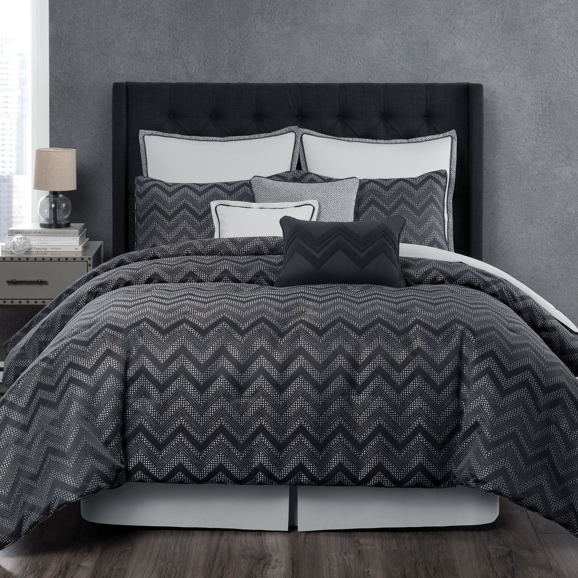 Berkeley Gray And Black Chevron Comforter Bedding From Laundry By