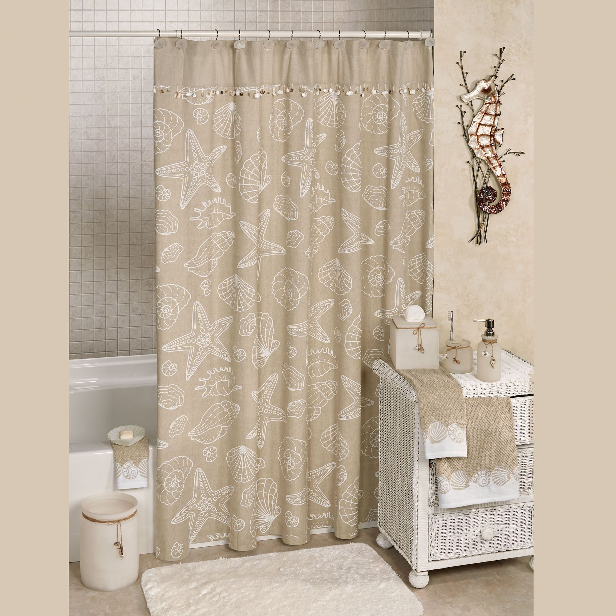 Ipanema Coastal Shower Curtain Dark Beige 70 X 72